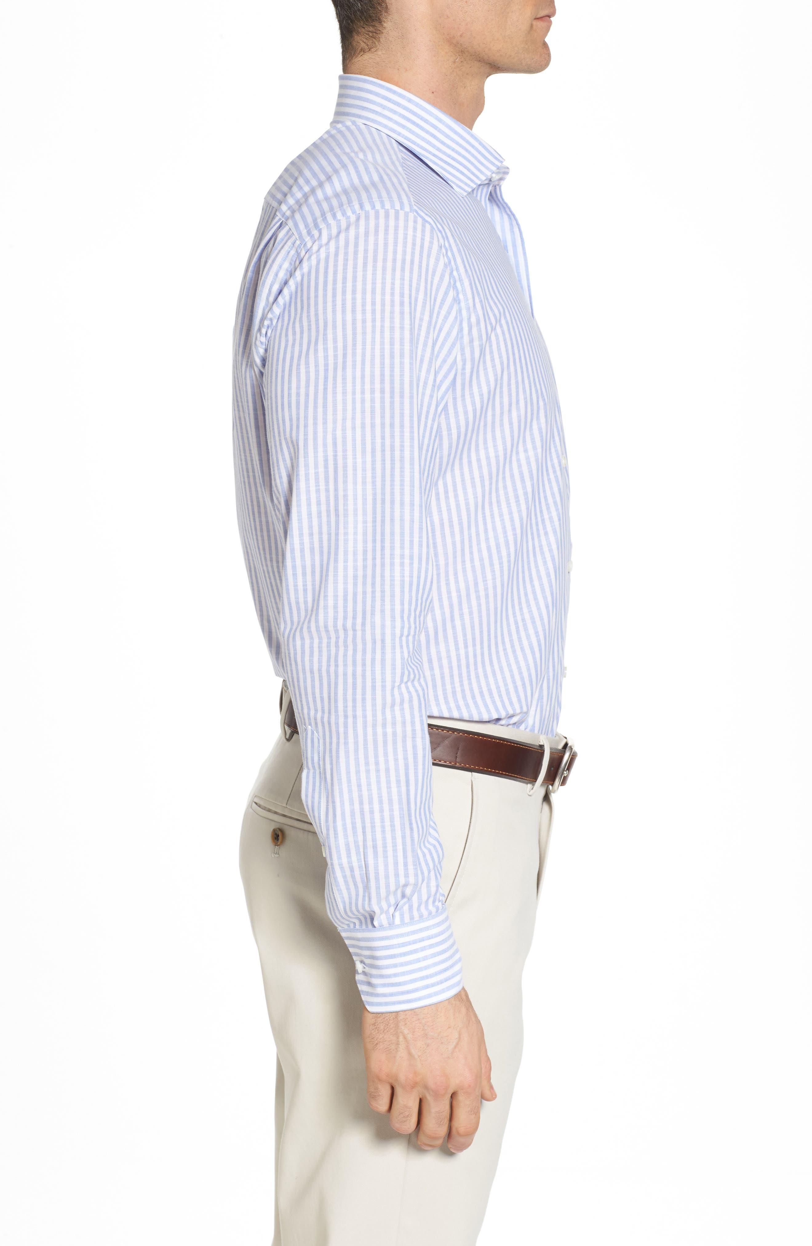 Summer Stripe Chambray Sport Shirt,                             Alternate thumbnail 3, color,                             433