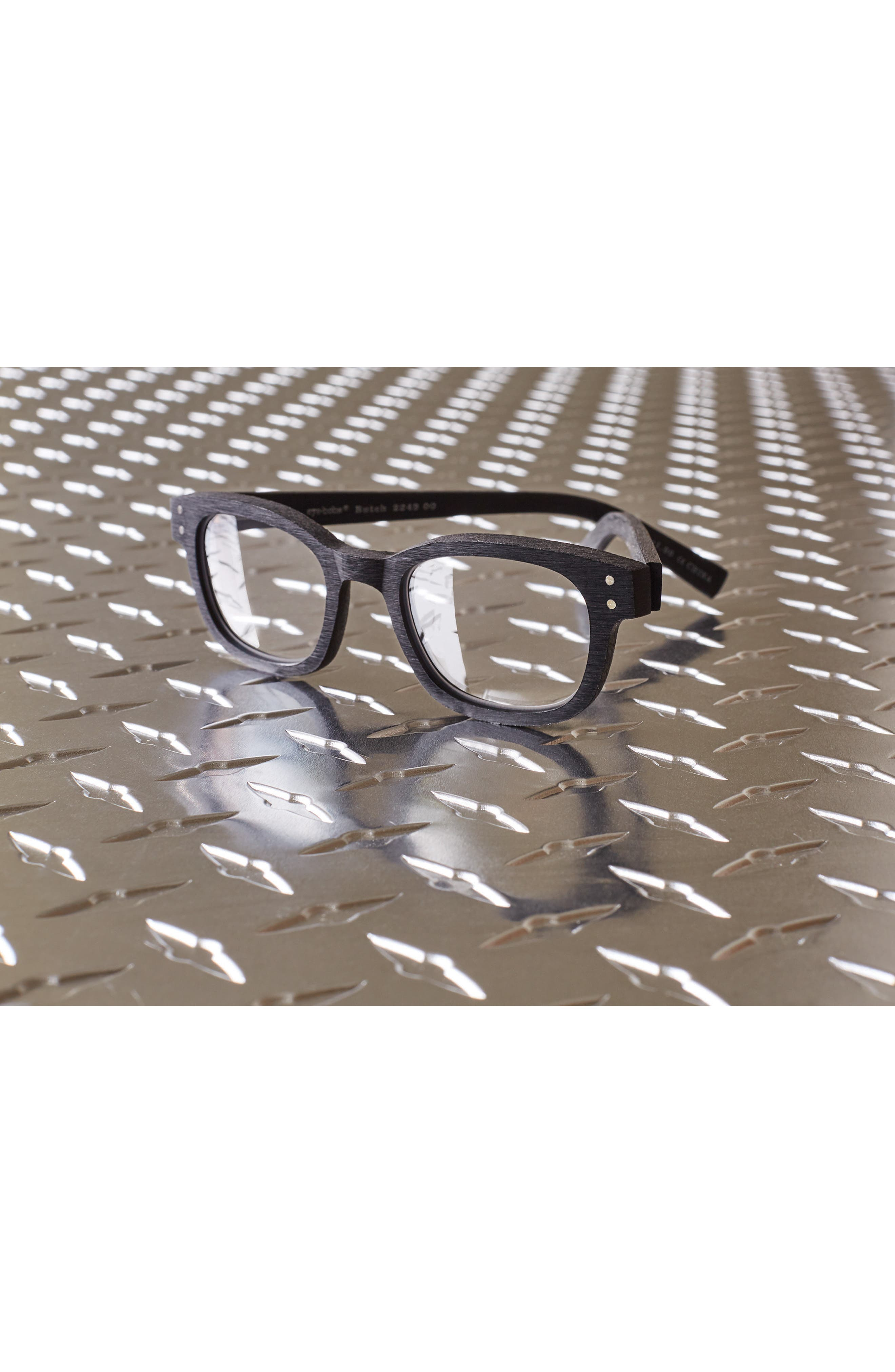 Butch 45mm Reading Glasses,                             Alternate thumbnail 3, color,                             MATTE BLACK WOODGRAIN