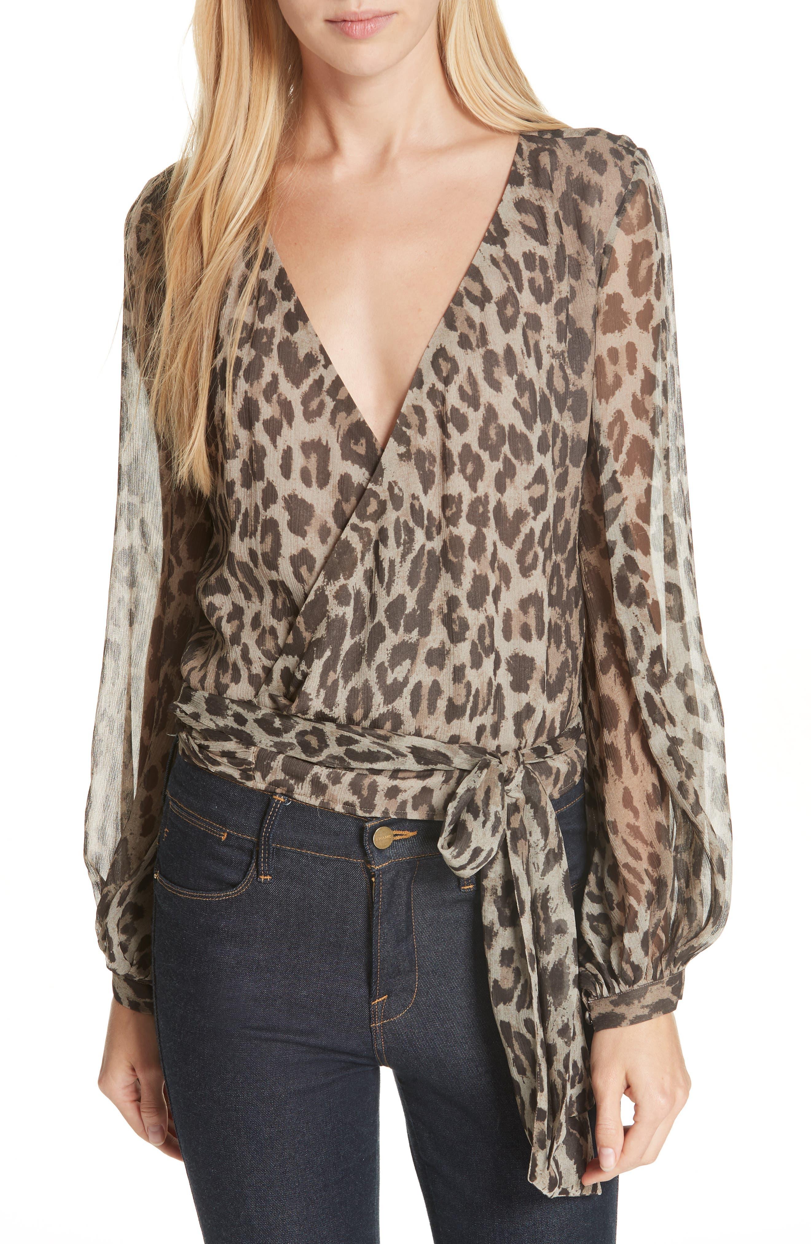 Leopard Print Silk Wrap Top,                         Main,                         color, 200