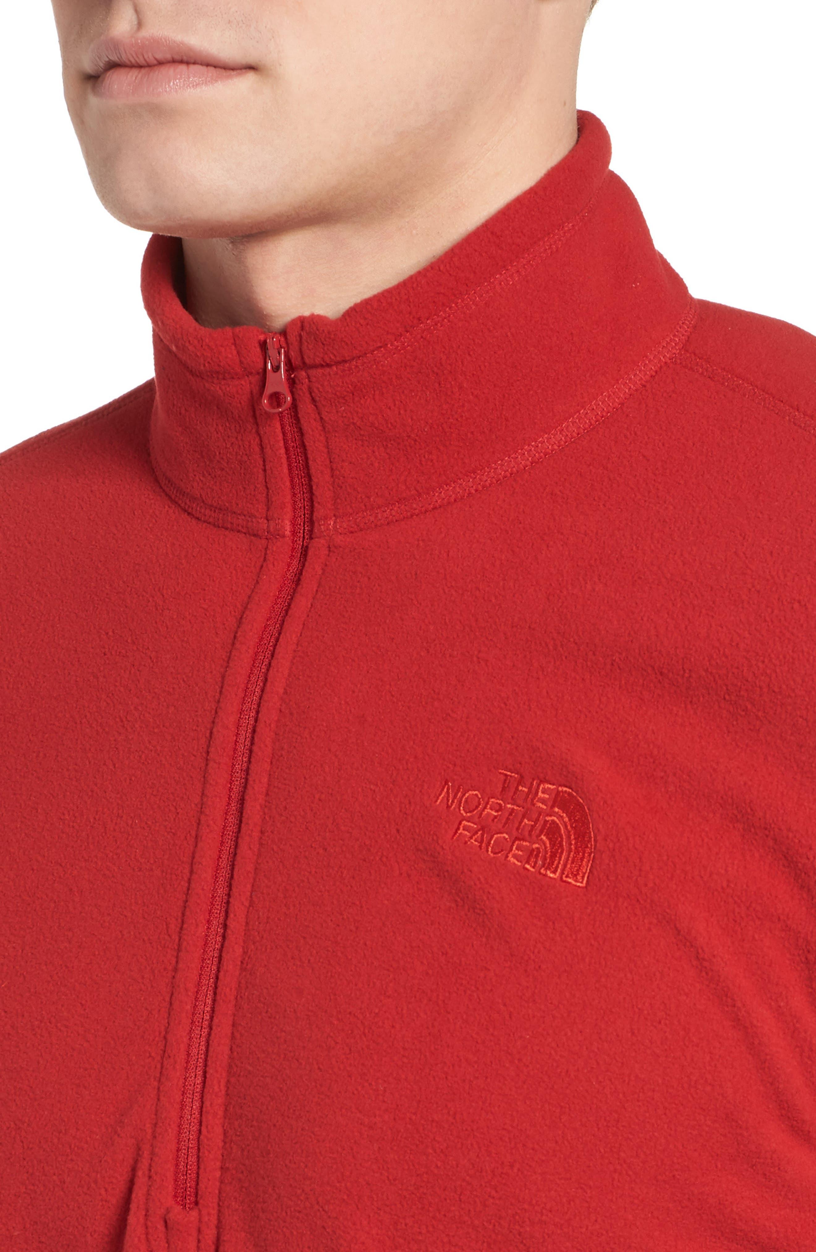 'TKA 100 Glacier' Quarter Zip Fleece Pullover,                             Alternate thumbnail 4, color,                             RAGE RED/ RAGE RED