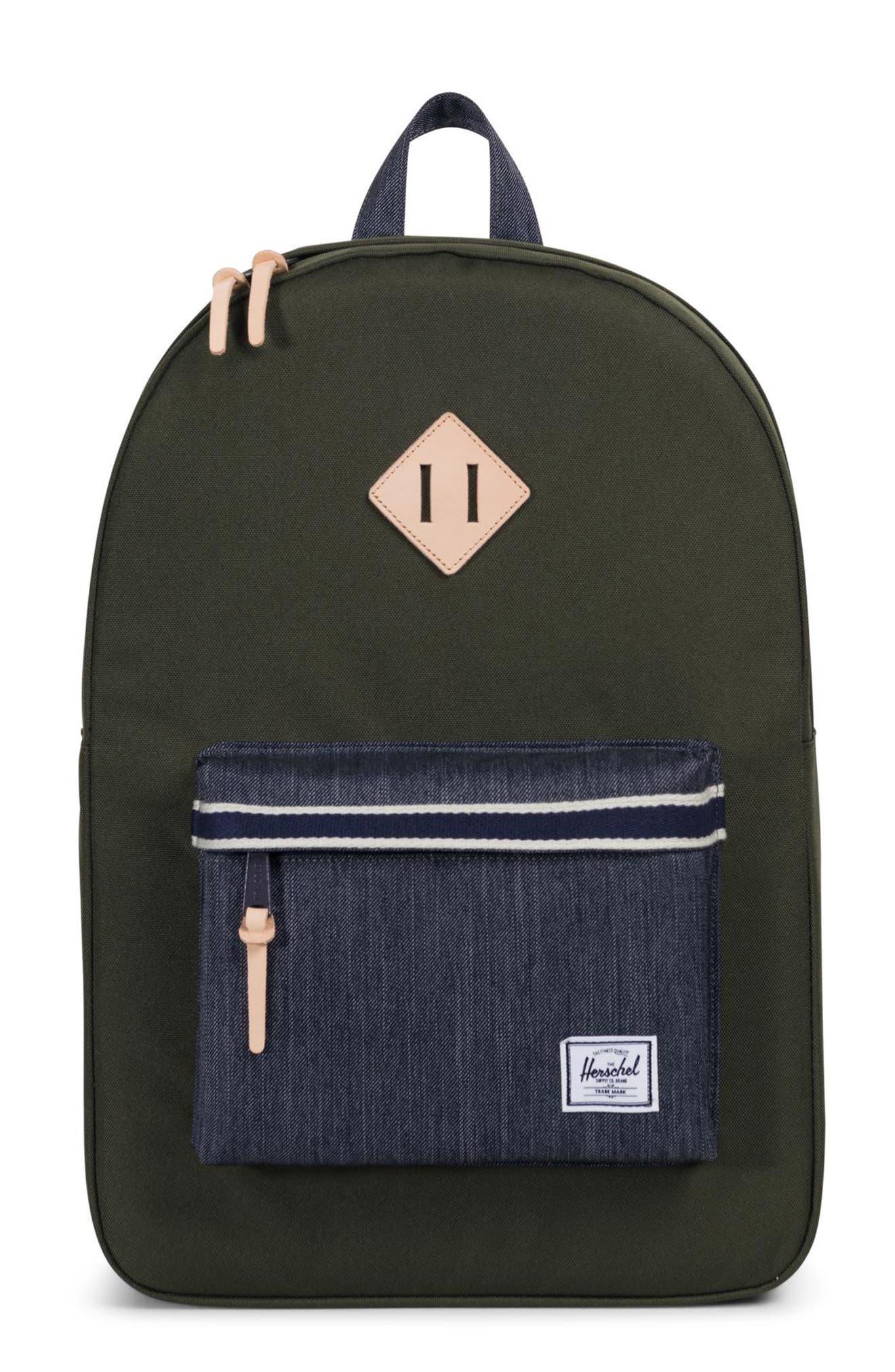 Heritage Offset Denim Backpack,                             Main thumbnail 1, color,                             FOREST NIGHT/ DARK DENIM