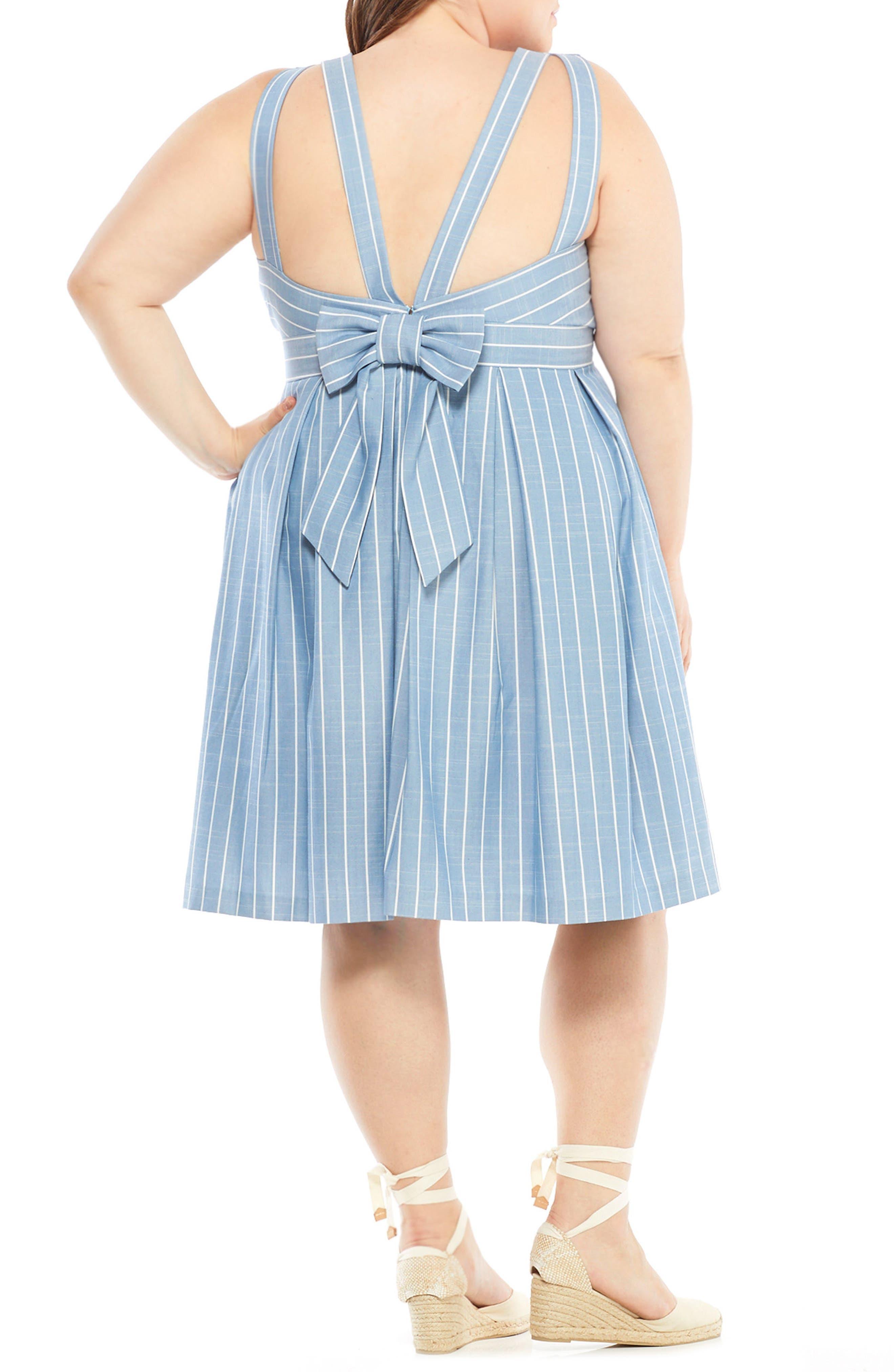 Samantha Slub Stripe Fit & Flare Dress,                             Alternate thumbnail 9, color,                             460