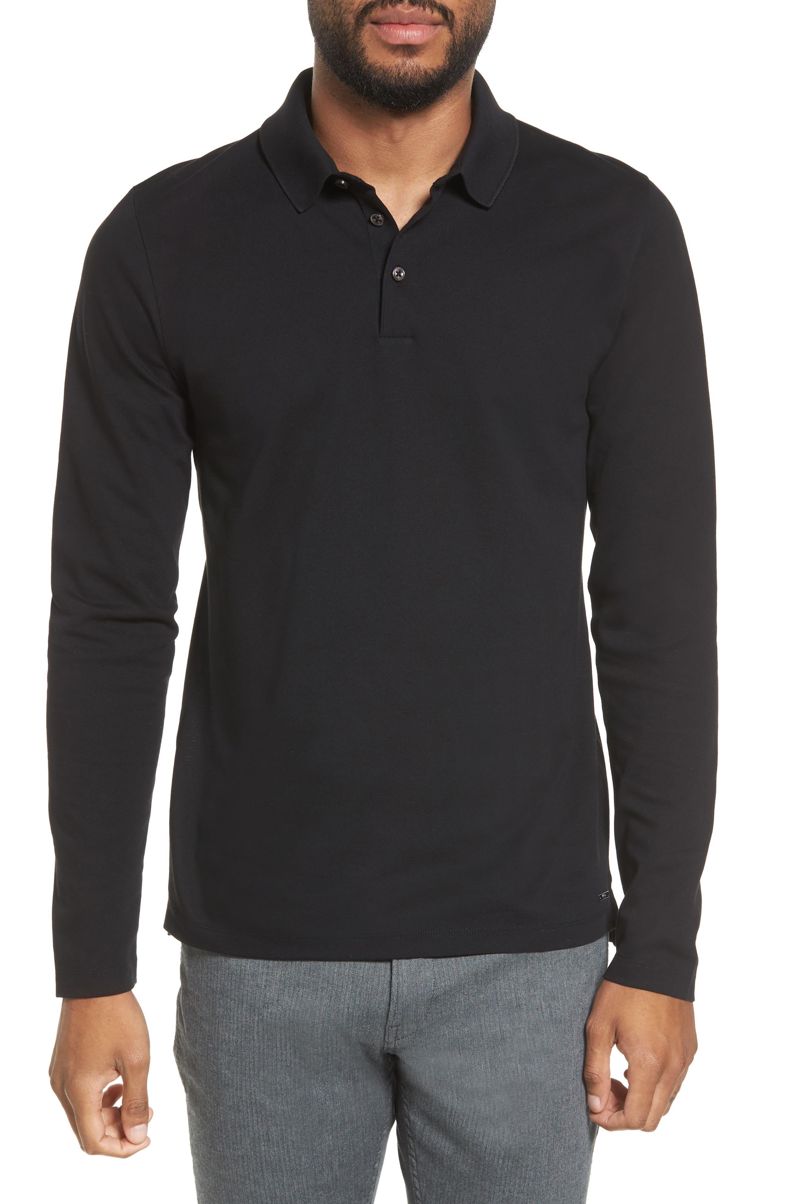 Pleins Slim Fit Long Sleeve Polo,                         Main,                         color, 001