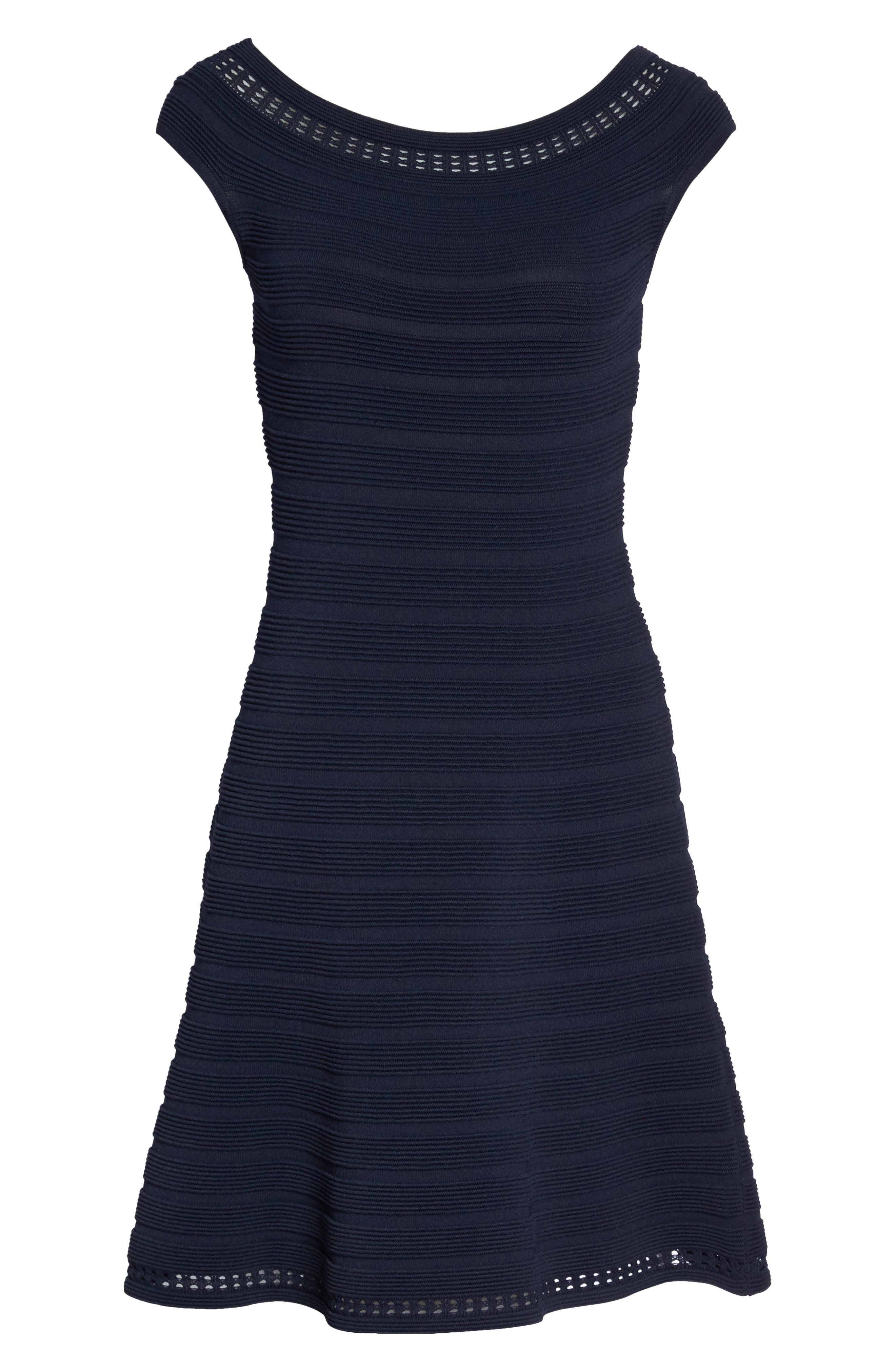 Off the Shoulder Fit & Flare Dress,                             Alternate thumbnail 6, color,                             NAVY
