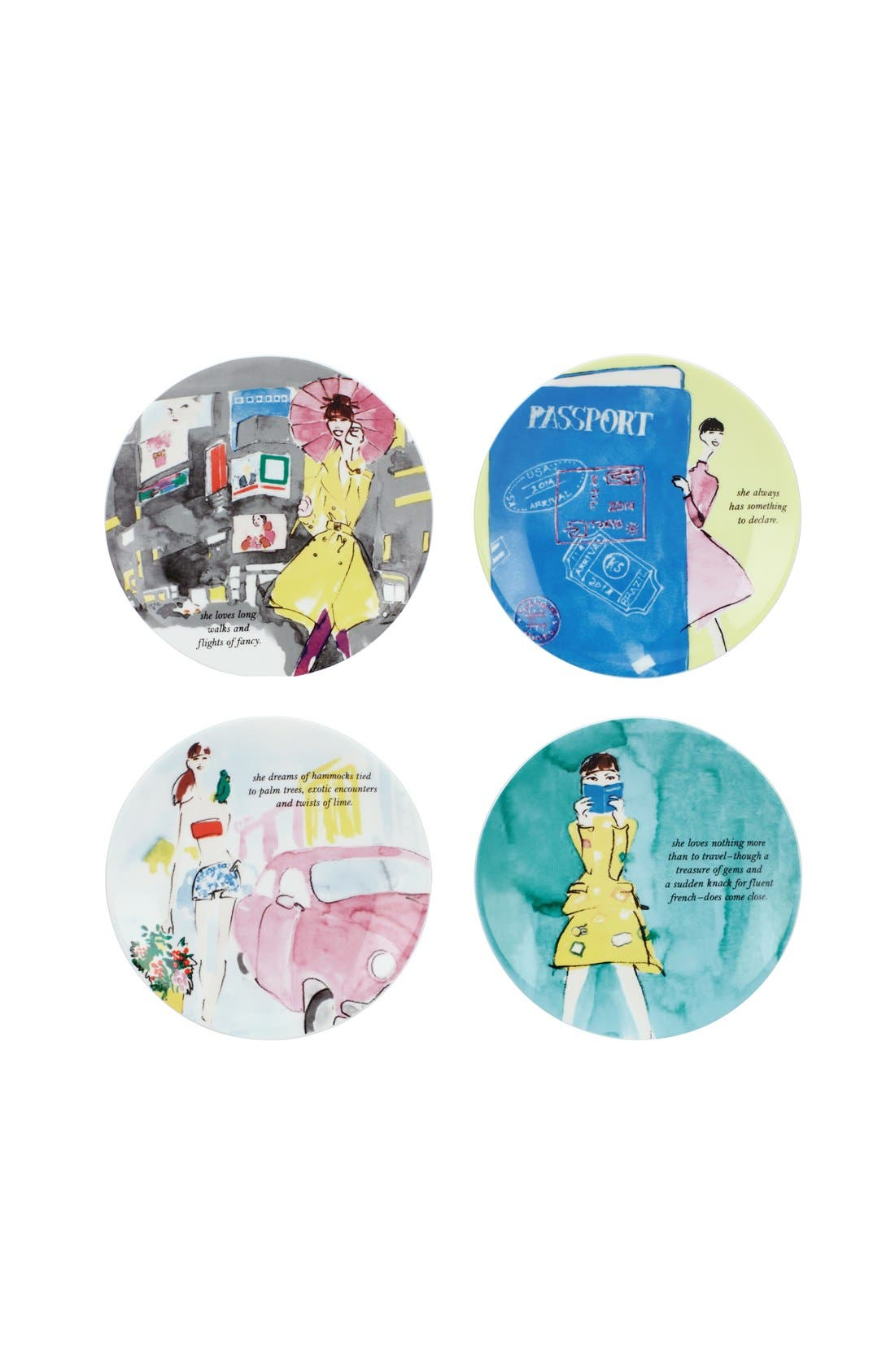 KATE SPADE NEW YORK,                             'places to go' tidbit plates,                             Main thumbnail 1, color,                             000