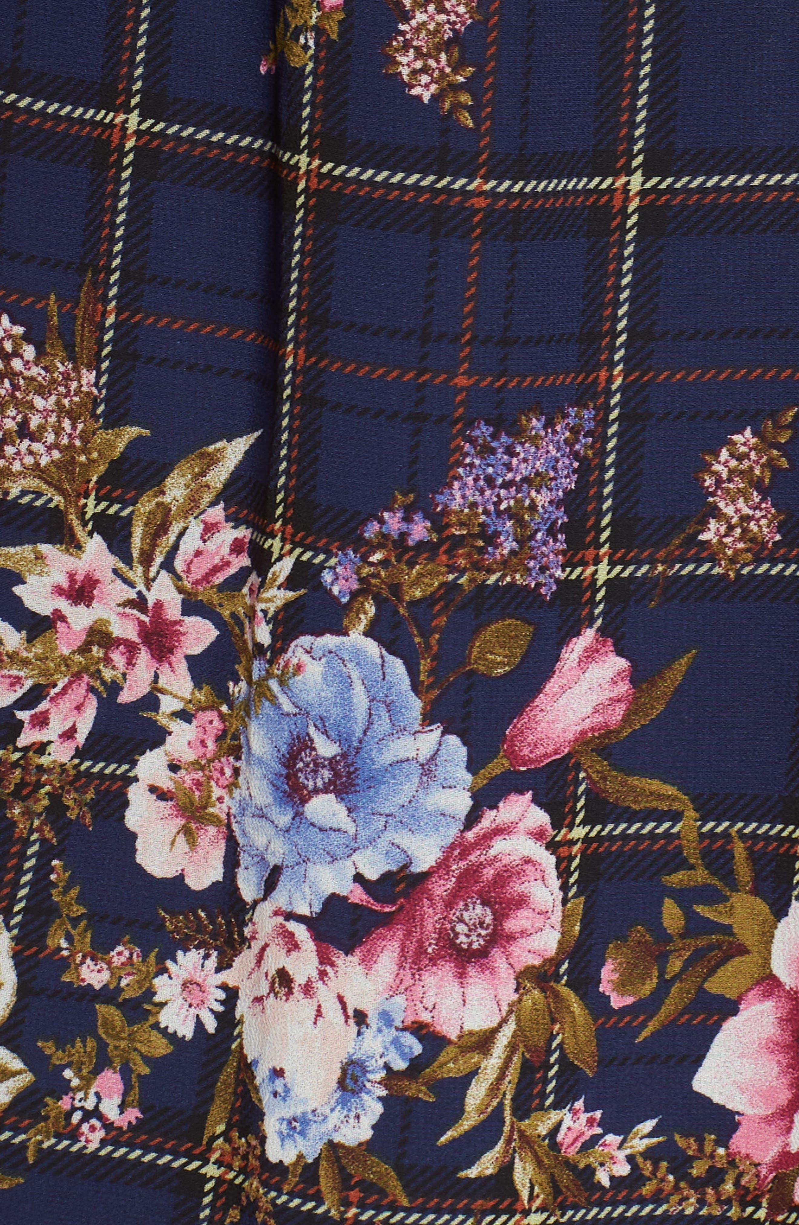 Three-Bow Long Sleeve Dress,                             Alternate thumbnail 6, color,                             NAVY PLAID FLORAL