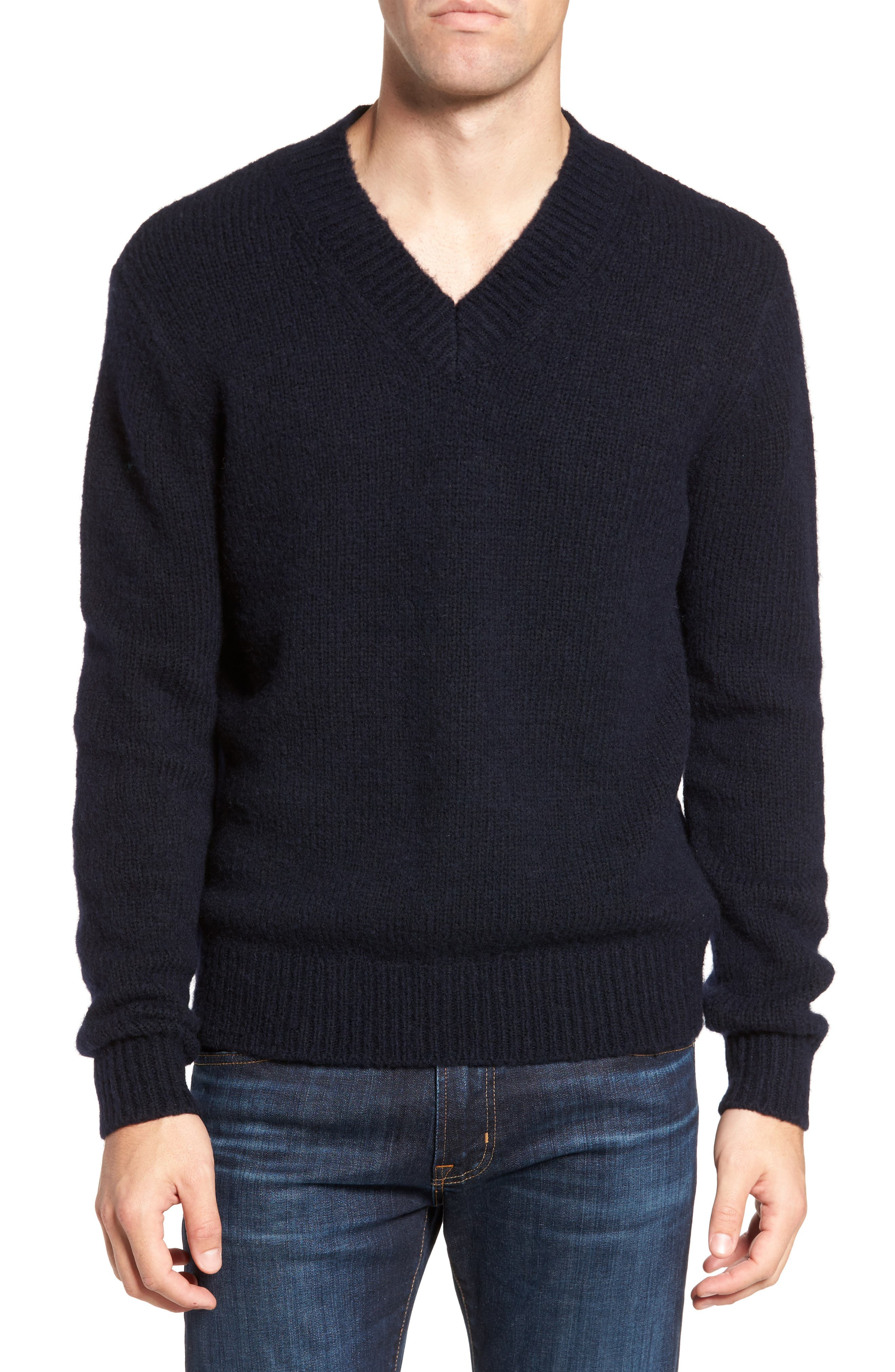 Fuzzy Deep V-Neck Wool Blend Sweater,                             Main thumbnail 2, color,