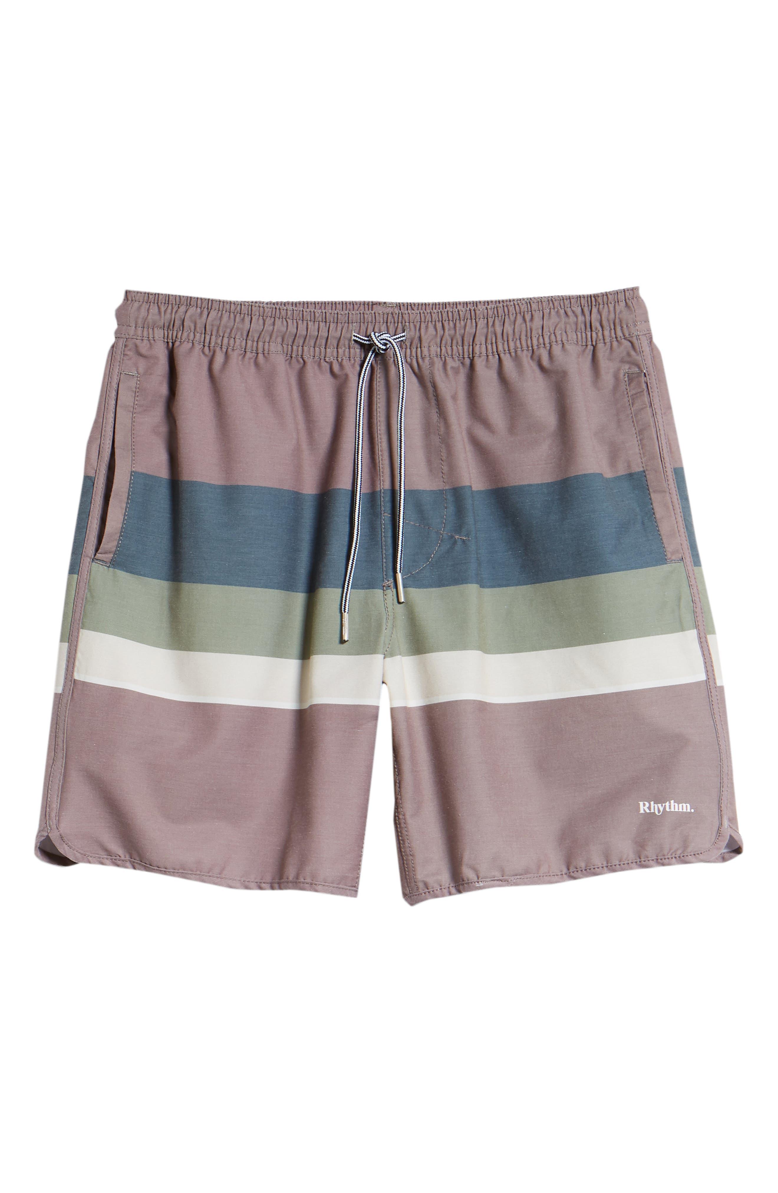 Retro Stripe Beach Swim Trunks,                             Alternate thumbnail 6, color,                             MUSK