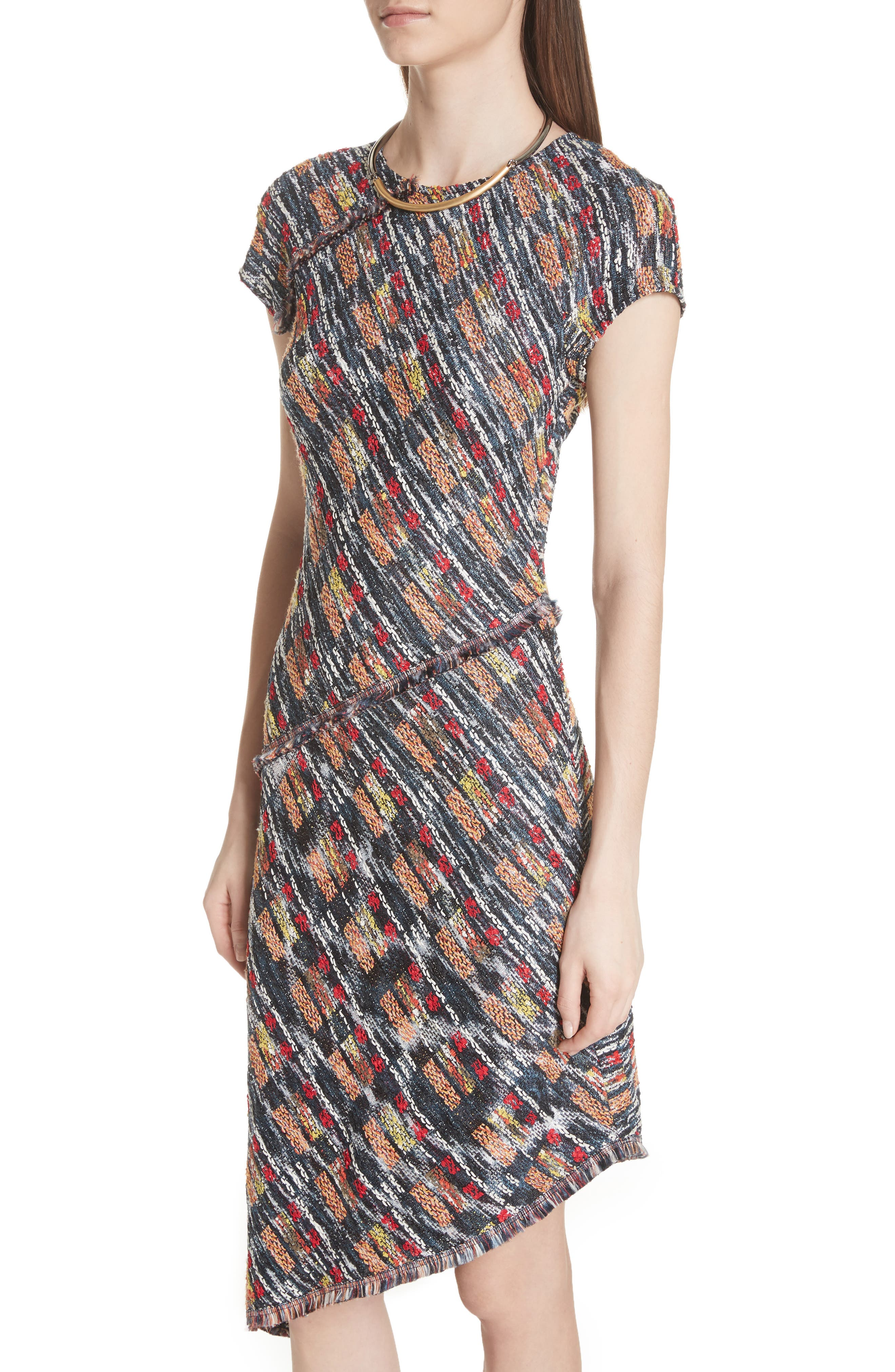 Painterly Tweed Knit Asymmetrical Dress,                             Alternate thumbnail 4, color,                             CAVIAR MULTI