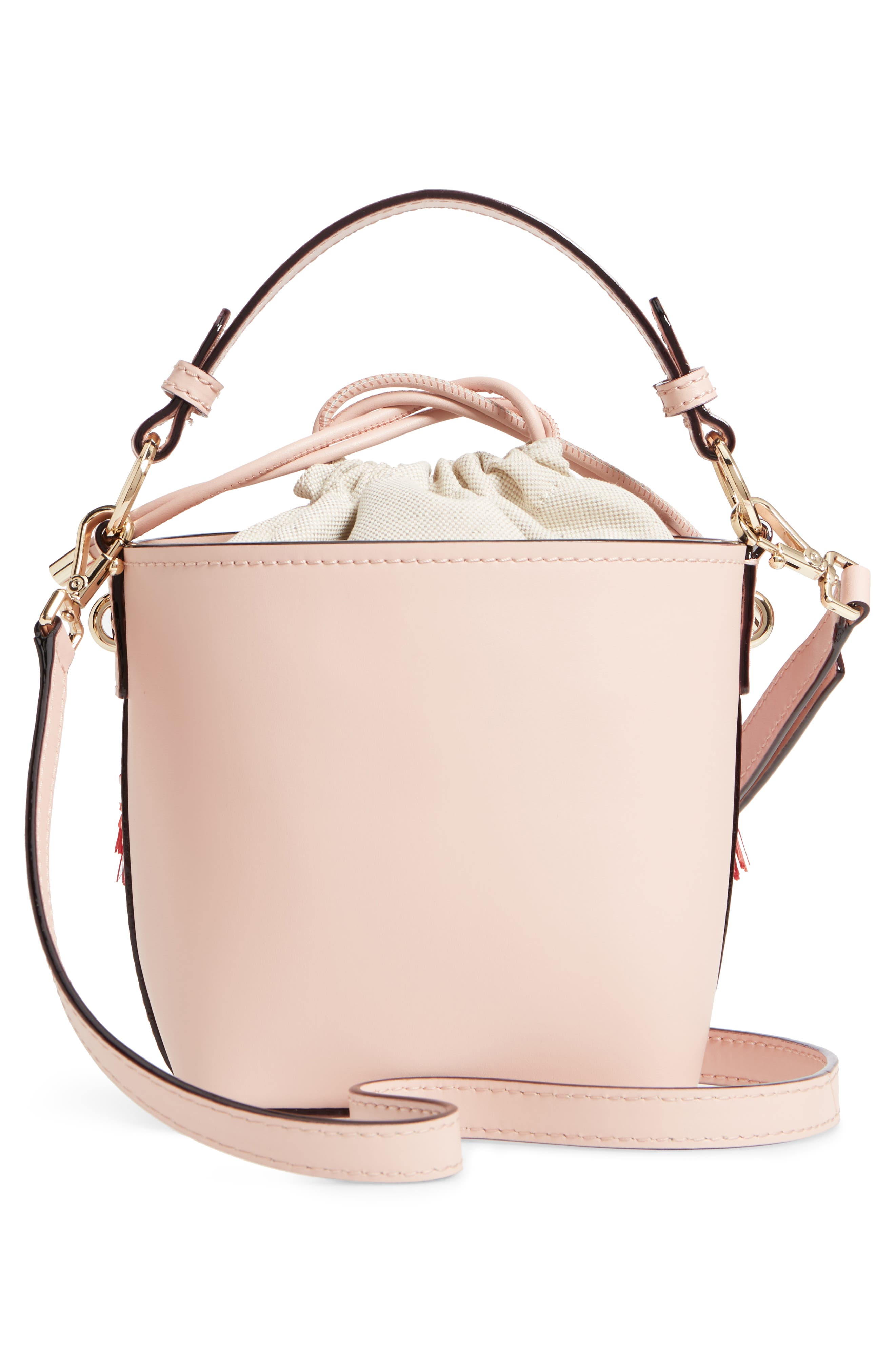 by the pool - flamingo pippa leather bucket bag,                             Alternate thumbnail 3, color,                             650