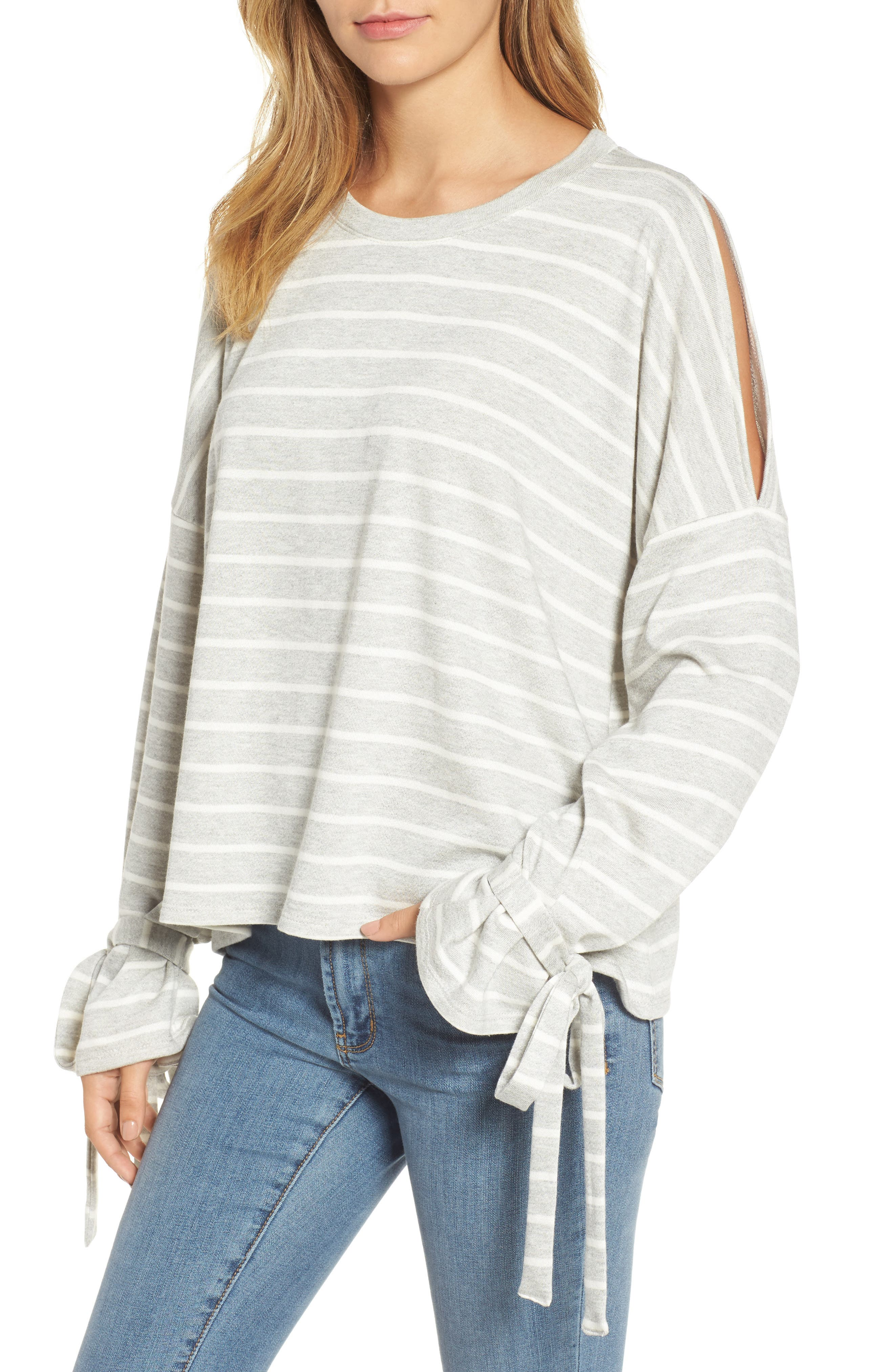 Calson<sup>®</sup> Cold Shoulder Tie Sleeve Tee,                             Main thumbnail 1, color,                             030