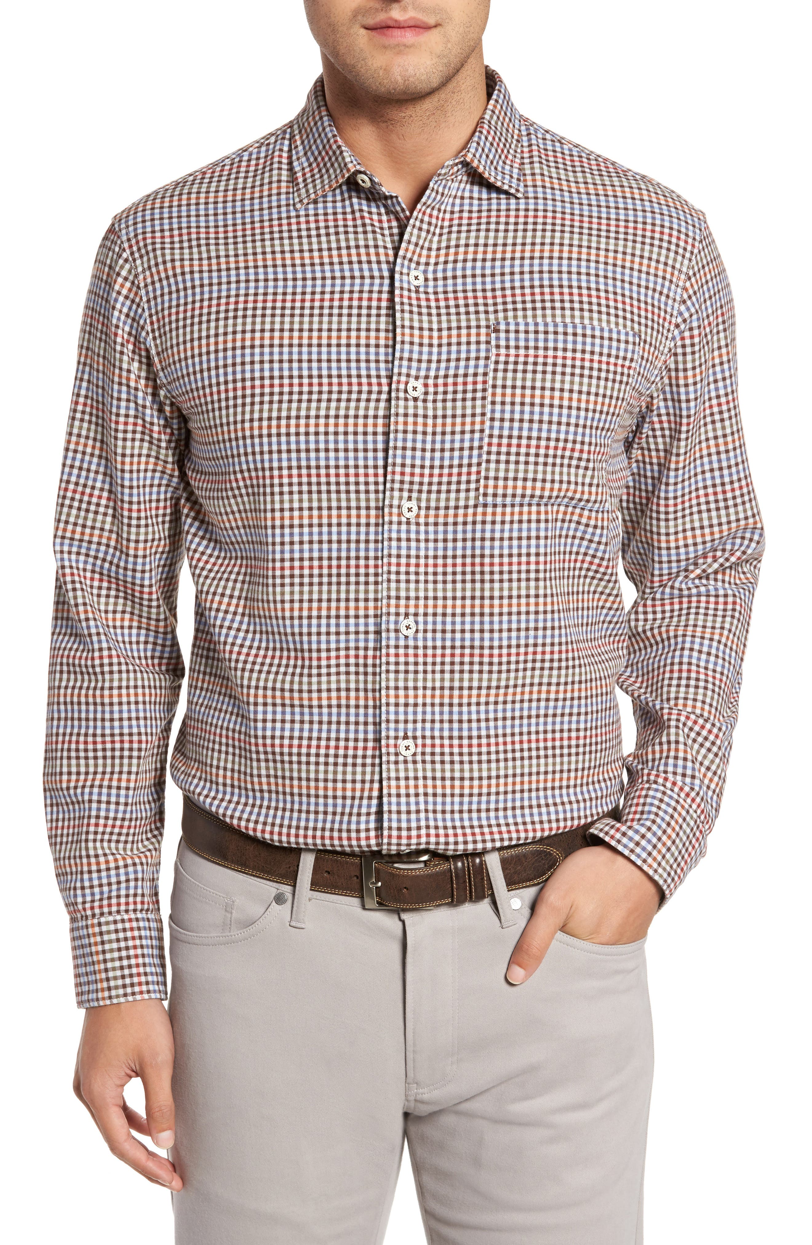 Tan Tan Regular Fit Check Sport Shirt,                             Main thumbnail 1, color,                             050