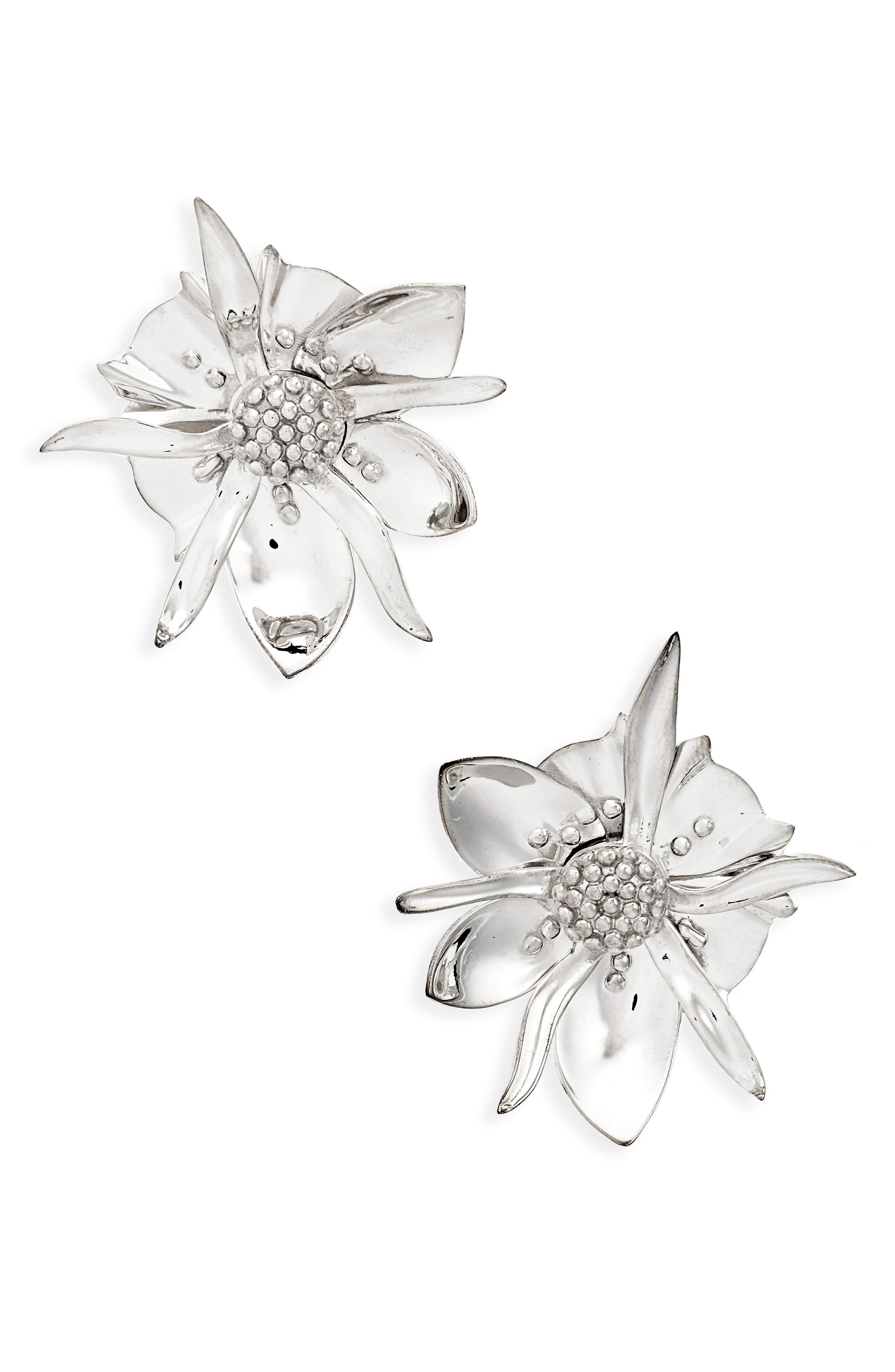 Large Wildflower Stud Earrings,                         Main,                         color, STERLING SILVER