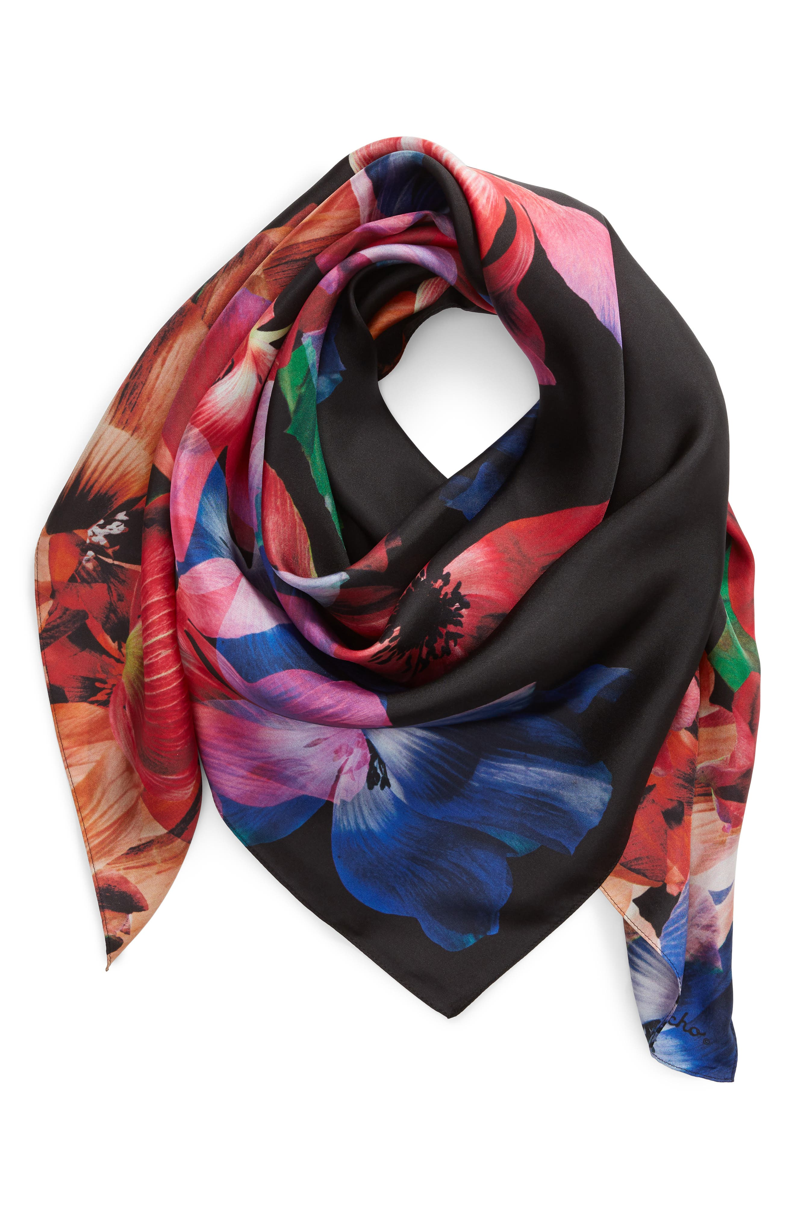 Floral Print Square Silk Scarf,                             Alternate thumbnail 2, color,                             MULTI