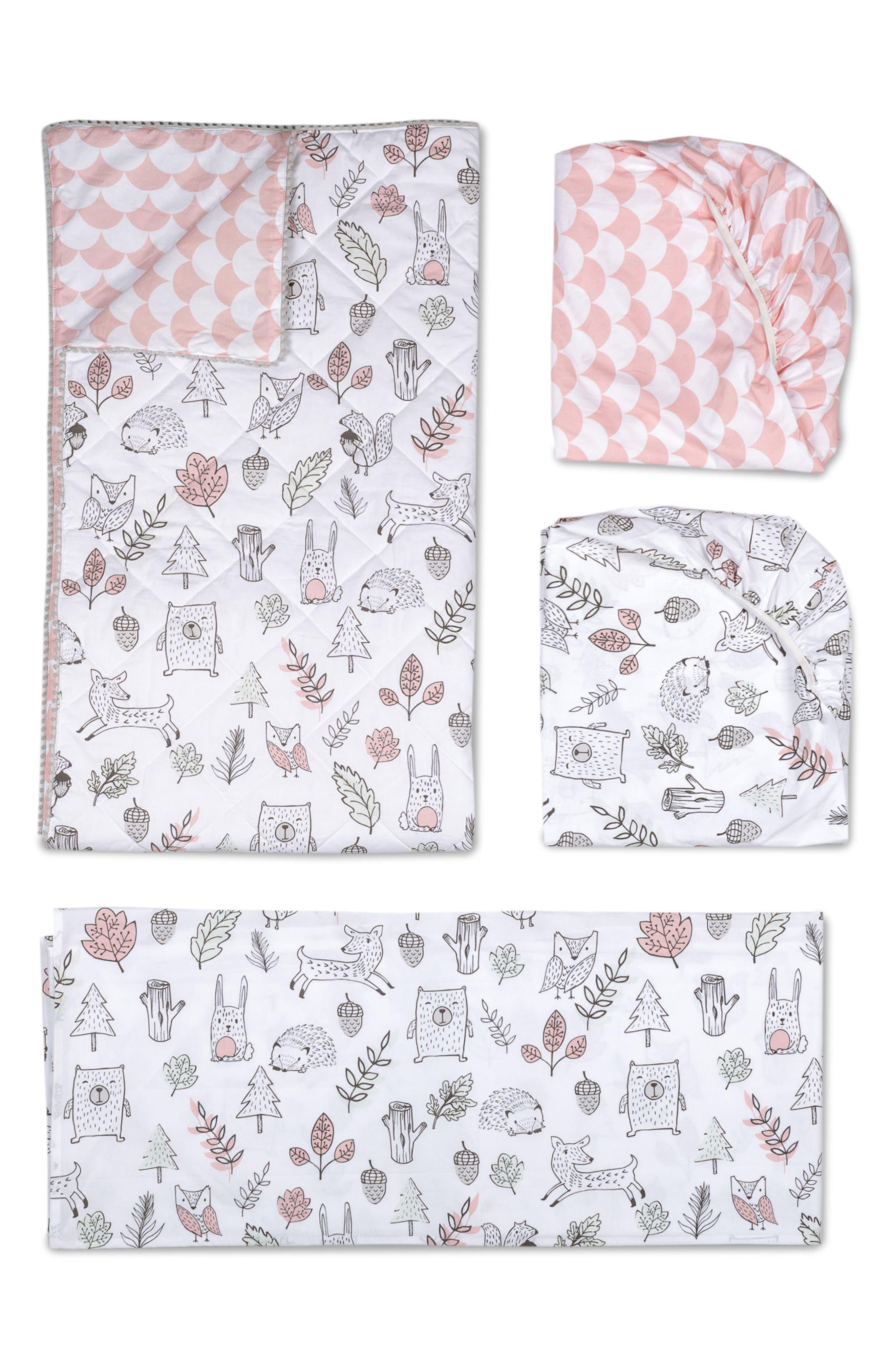 LIVING TEXTILES,                             Woodlands 4-Piece Crib Bedding Set,                             Main thumbnail 1, color,                             100