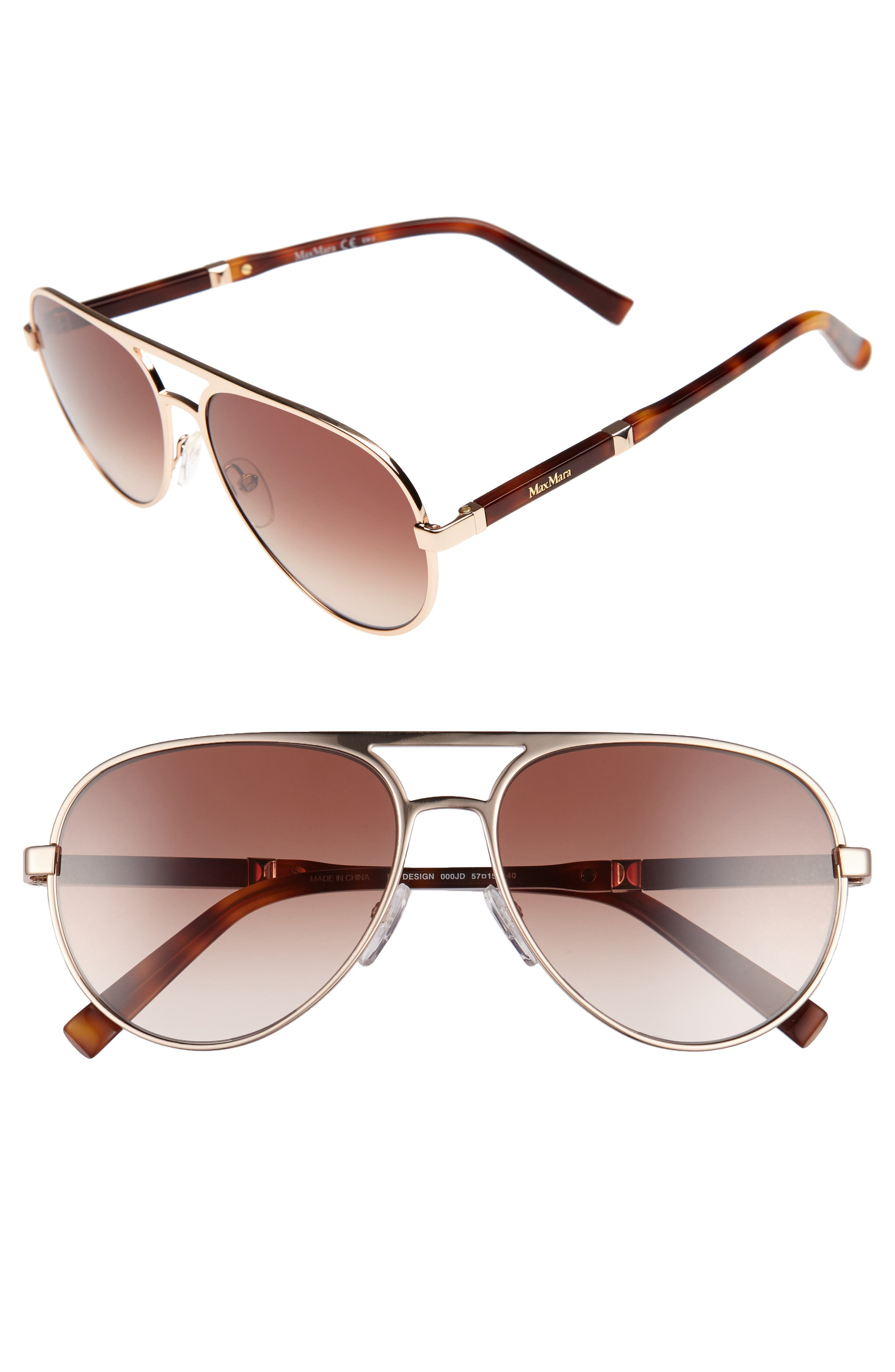 Desigs 57mm Gradient Aviator Sunglasses,                             Main thumbnail 1, color,                             710