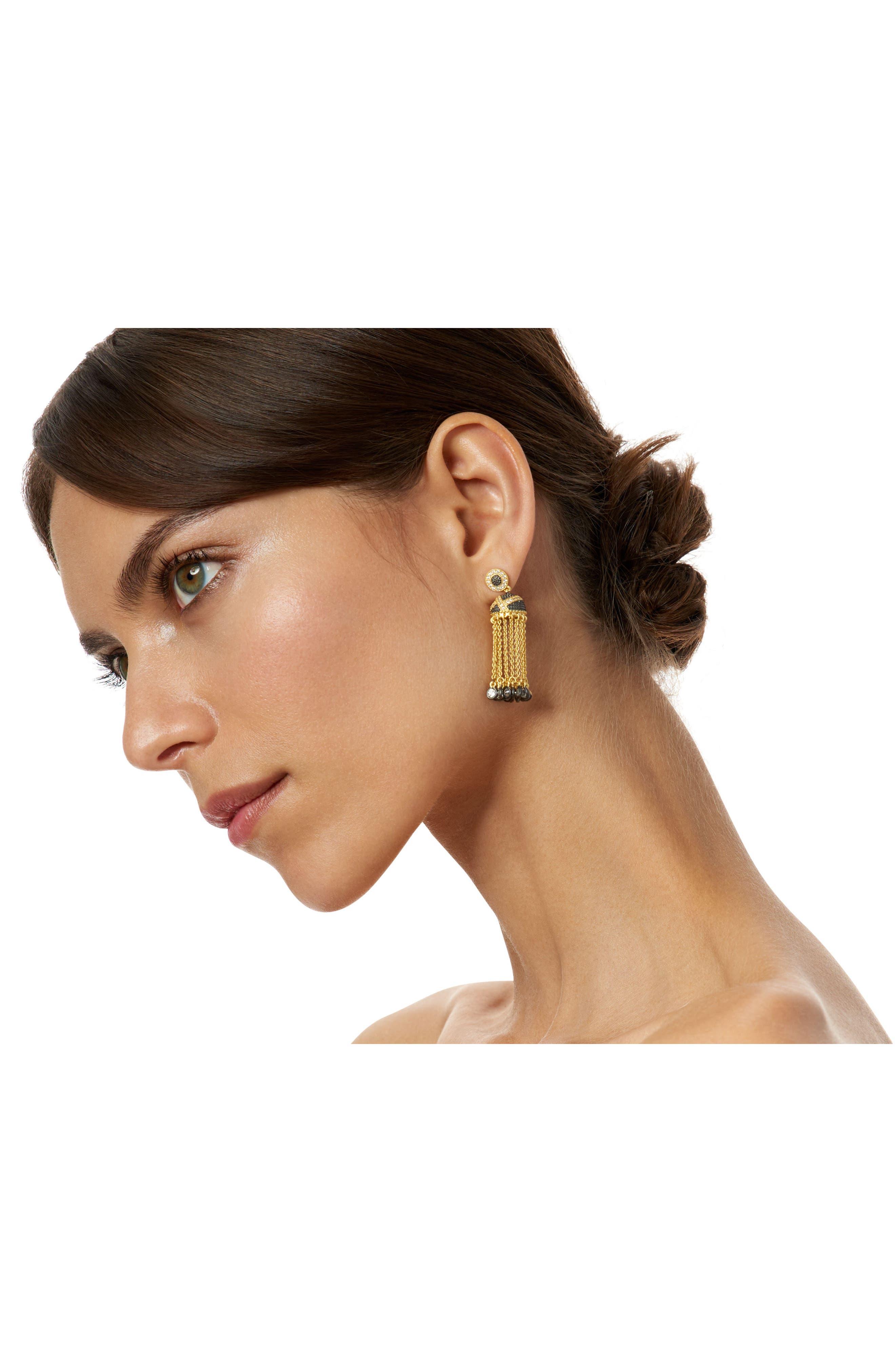 Textured Ornaments Tassel Drop Earrings,                             Alternate thumbnail 2, color,                             710
