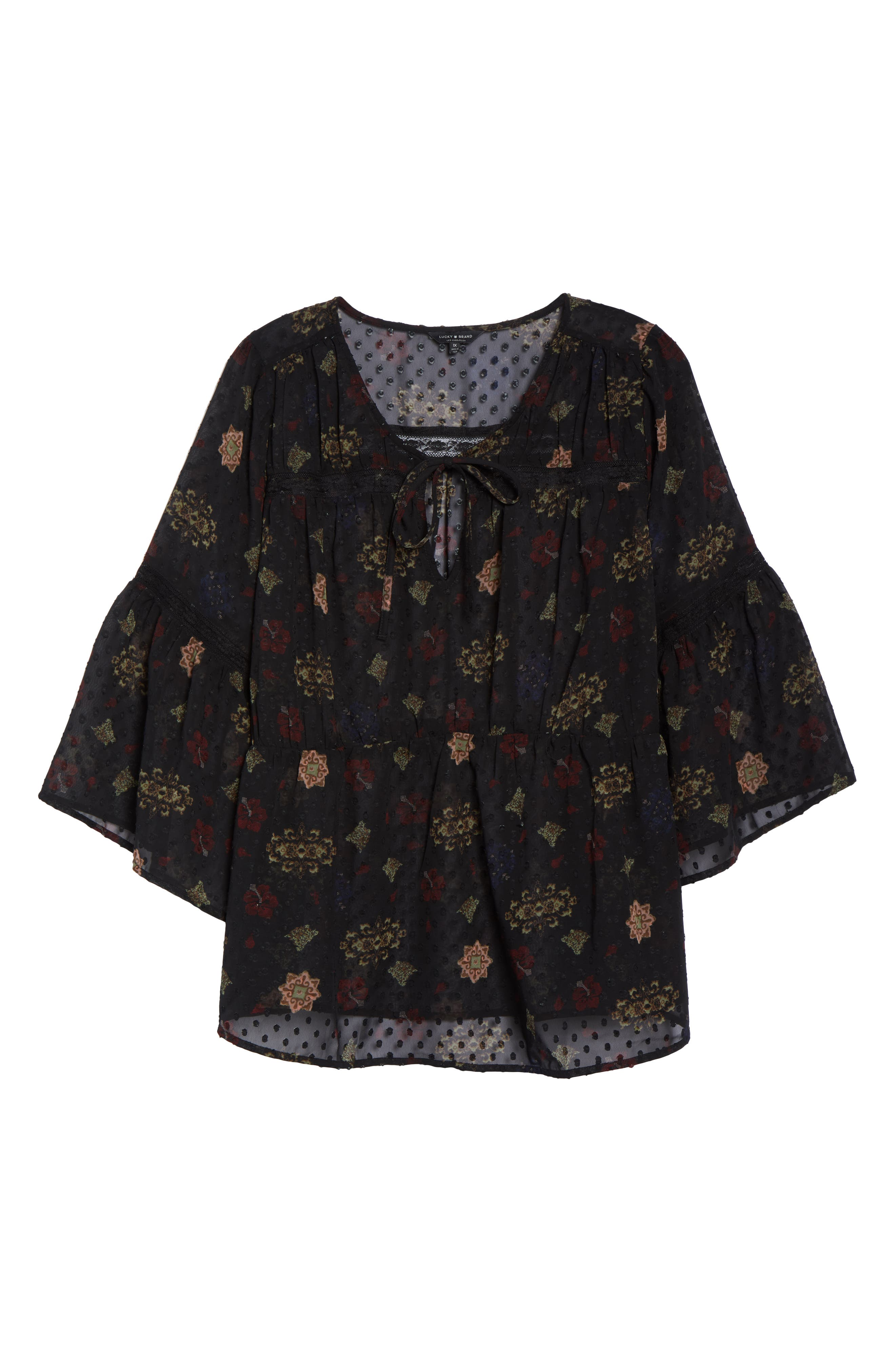Swiss Dot Floral Top,                             Alternate thumbnail 6, color,                             BLACK MULTI