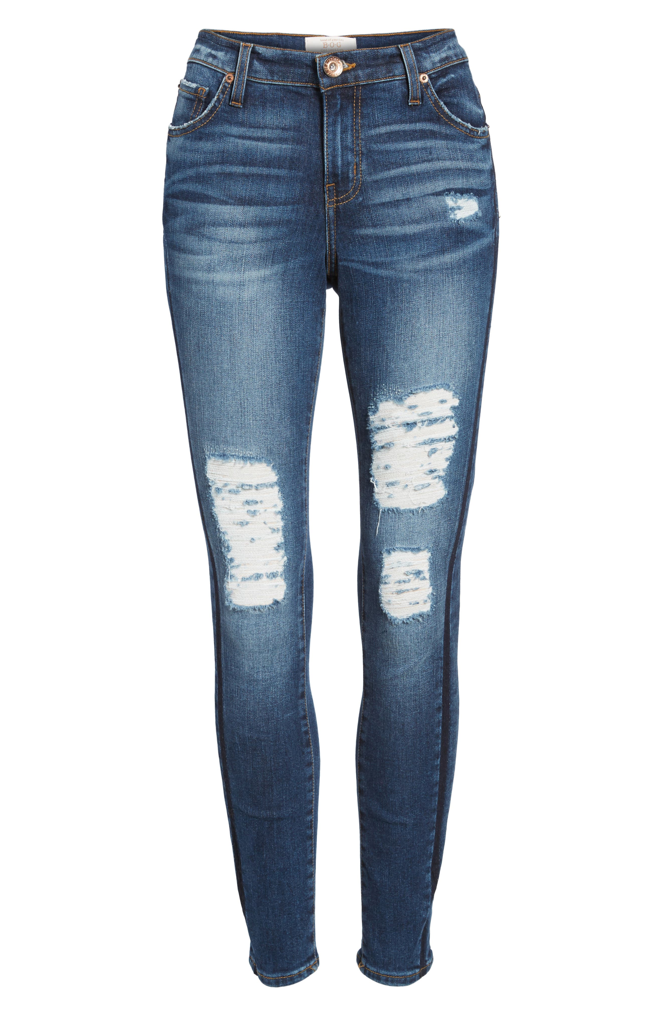 Lola Ripped Skinny Jeans,                             Alternate thumbnail 6, color,                             400