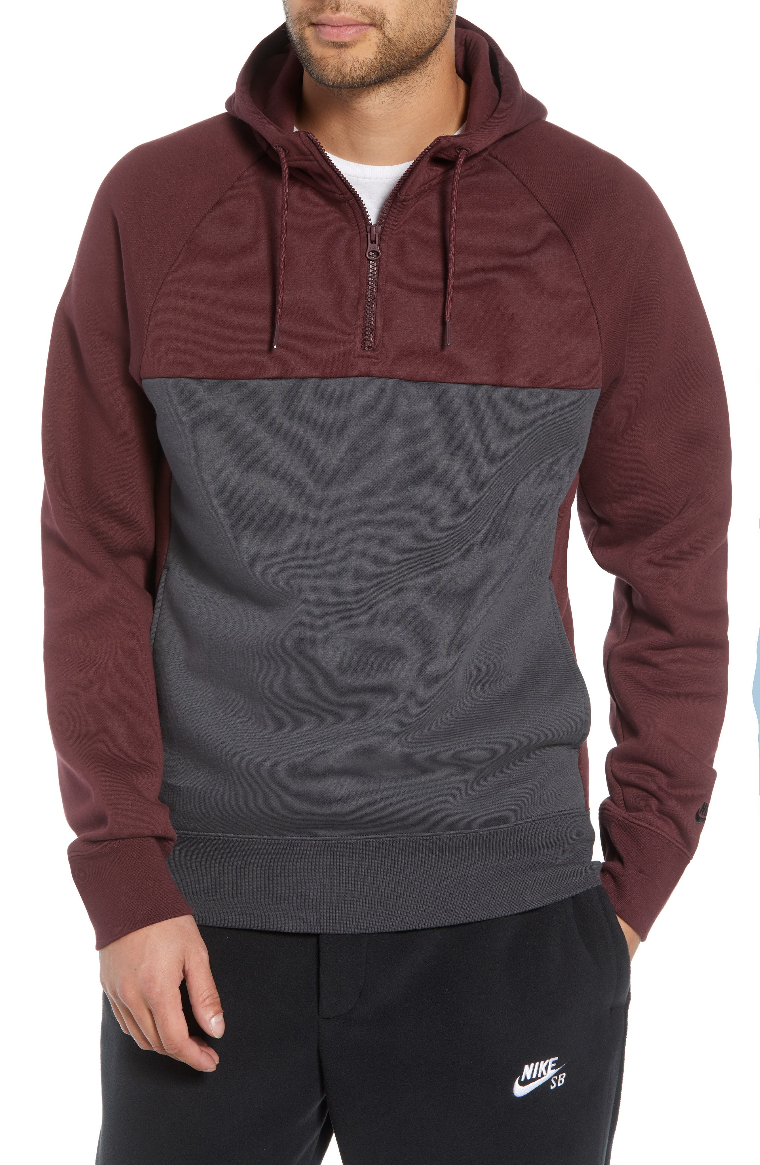 Colorblock Hoodie, Main, color, BURGUNDY CRUSH/ ANTHRACITE
