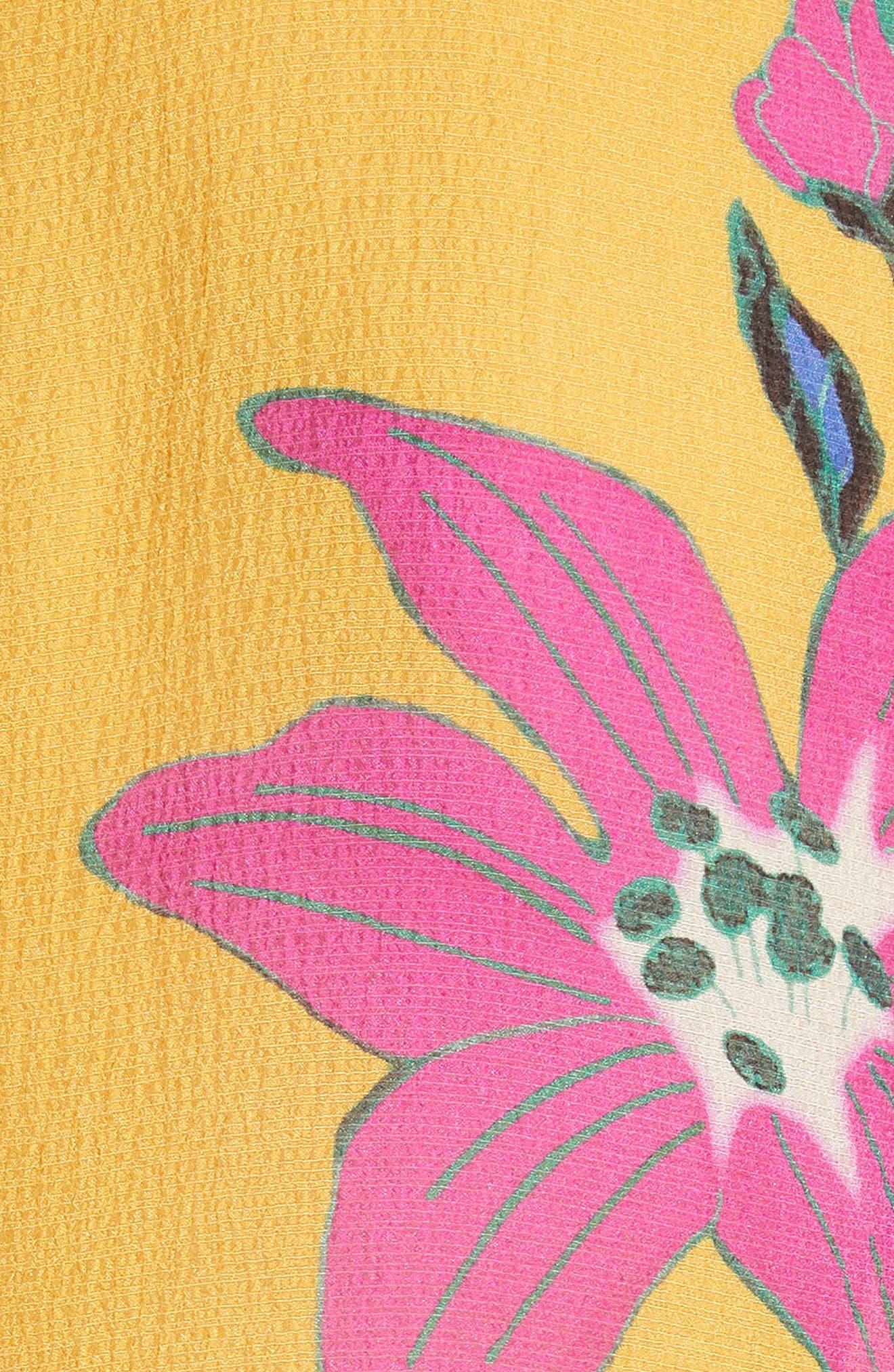 Lily Print Tie Neck Silk Blouse,                             Alternate thumbnail 5, color,                             YELLOW MULTI