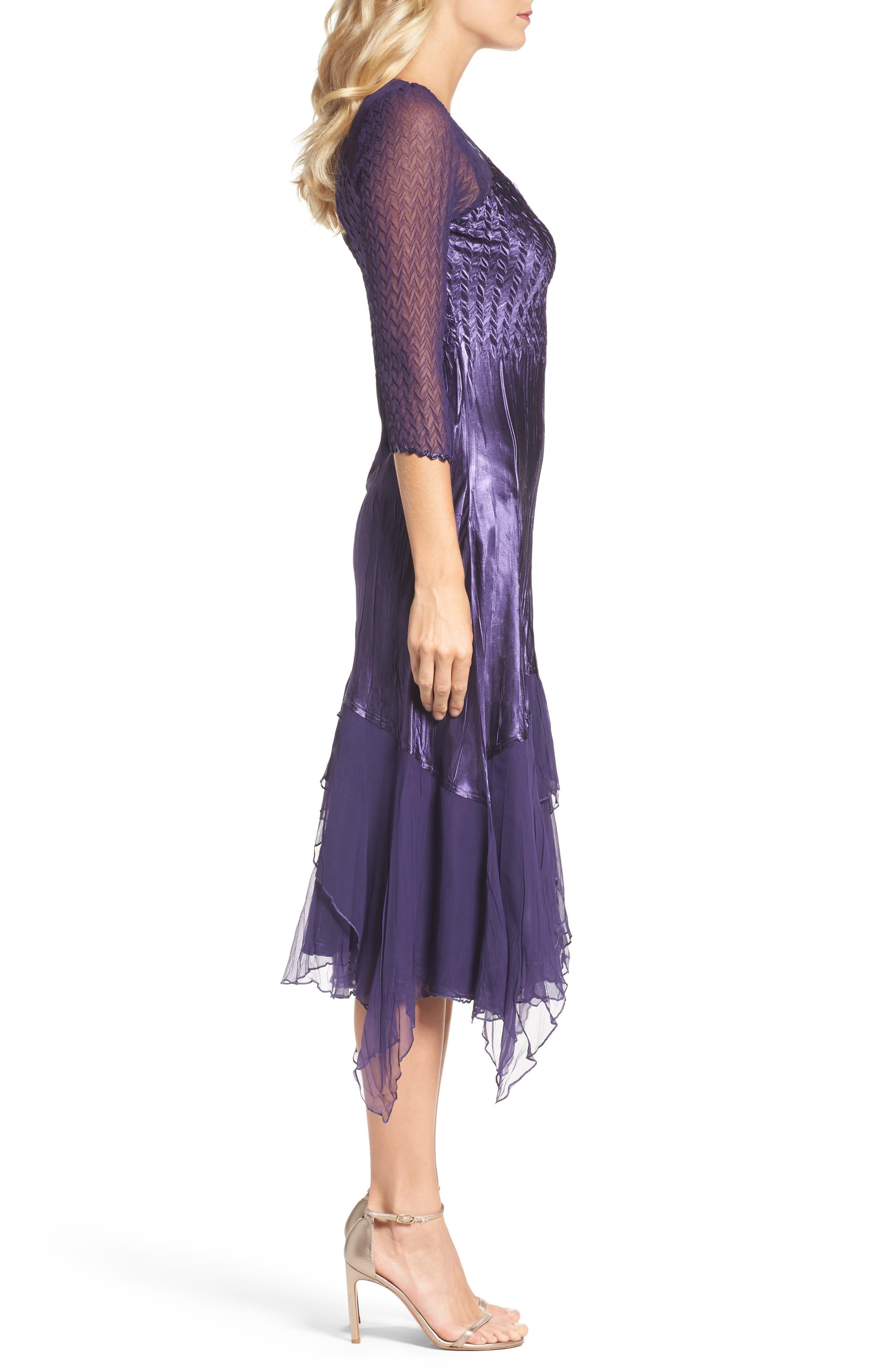 Handkerchief Hem A-Line Dress,                             Alternate thumbnail 3, color,