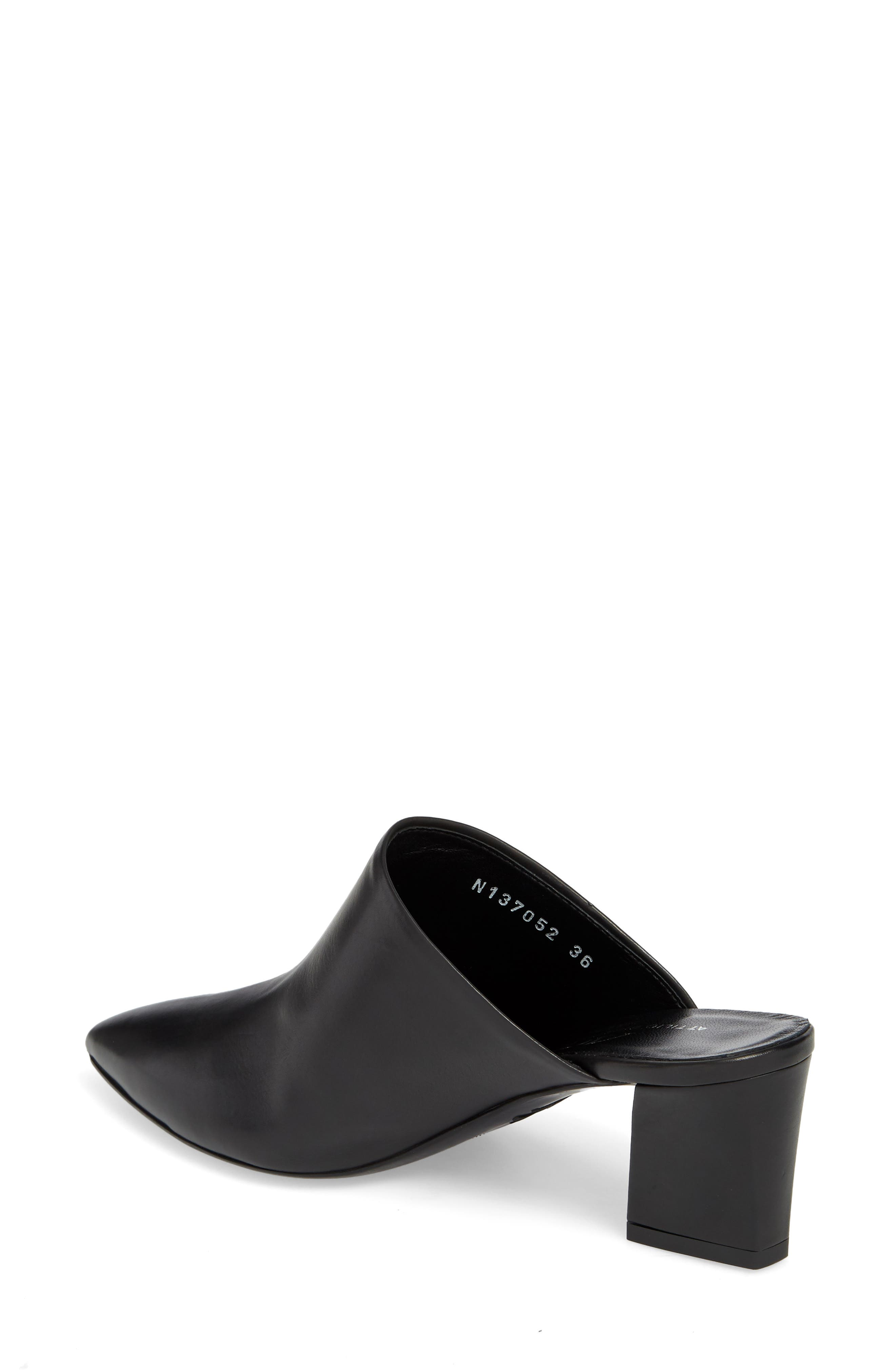 Pointy Toe Mule,                             Alternate thumbnail 2, color,                             BLACK LEATHER