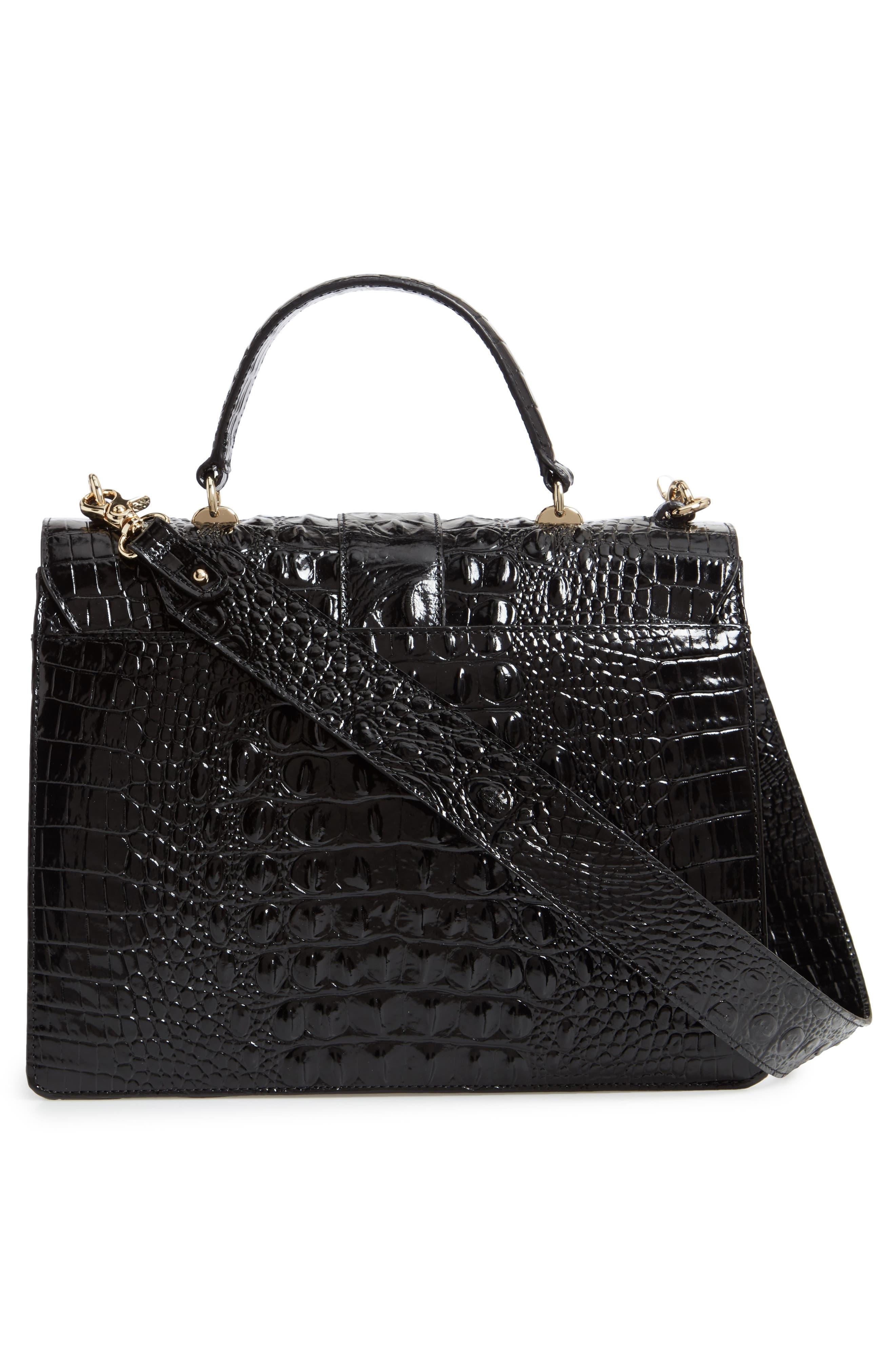 Medium Francine Croc Embossed Leather Satchel,                             Alternate thumbnail 3, color,                             BLACK