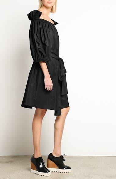 Belted Off the Shoulder Taffeta Dress, video thumbnail