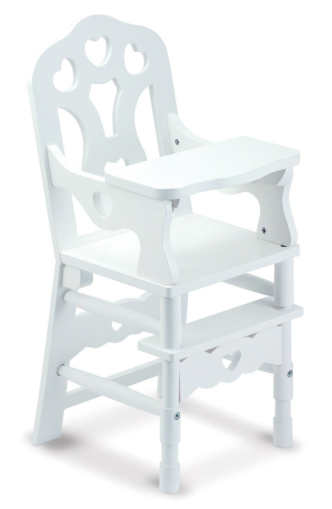 Wooden Doll Highchair,                             Alternate thumbnail 2, color,                             WHITE
