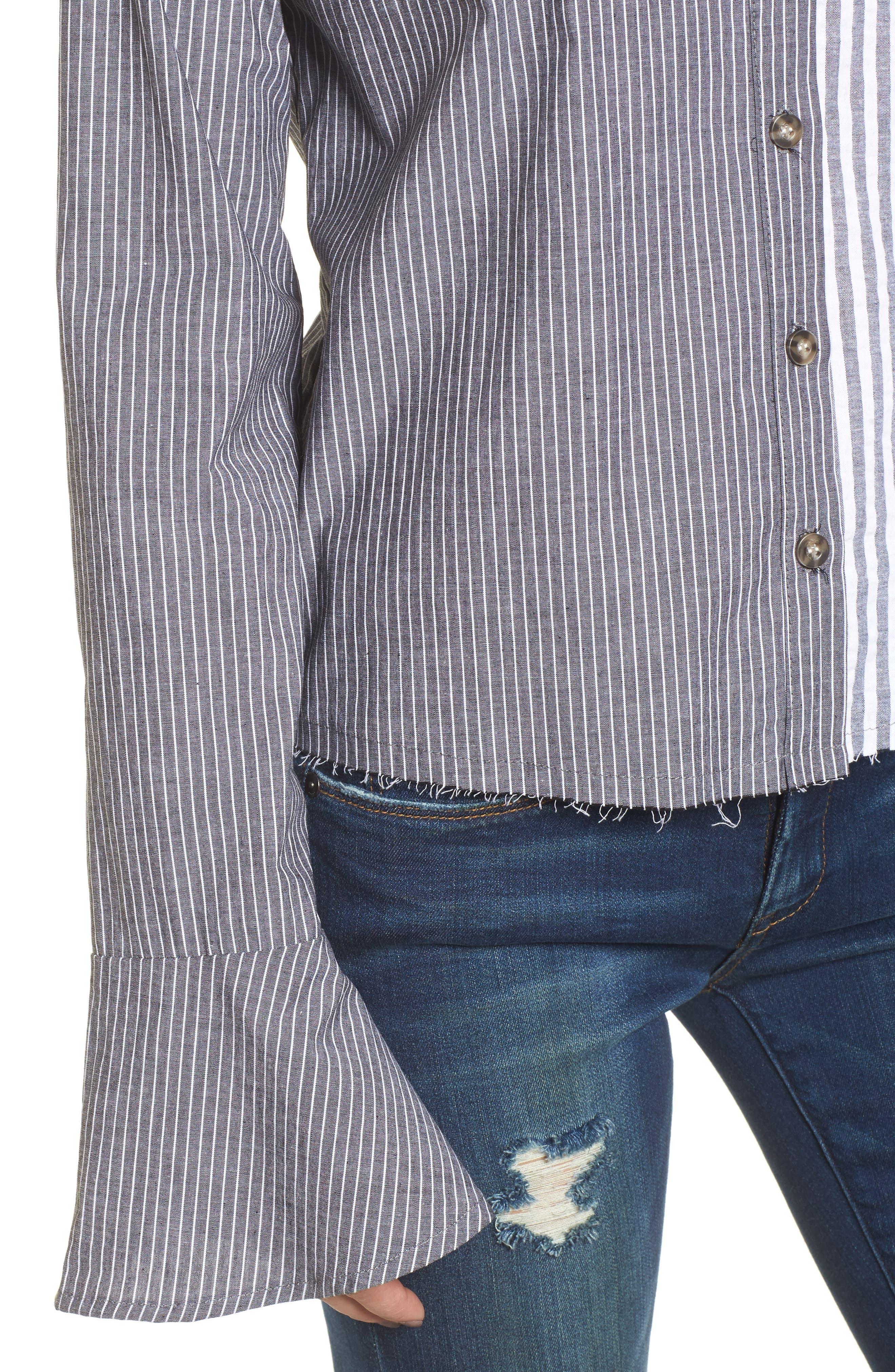 Mismatch Stripe Shirt,                             Alternate thumbnail 4, color,                             020