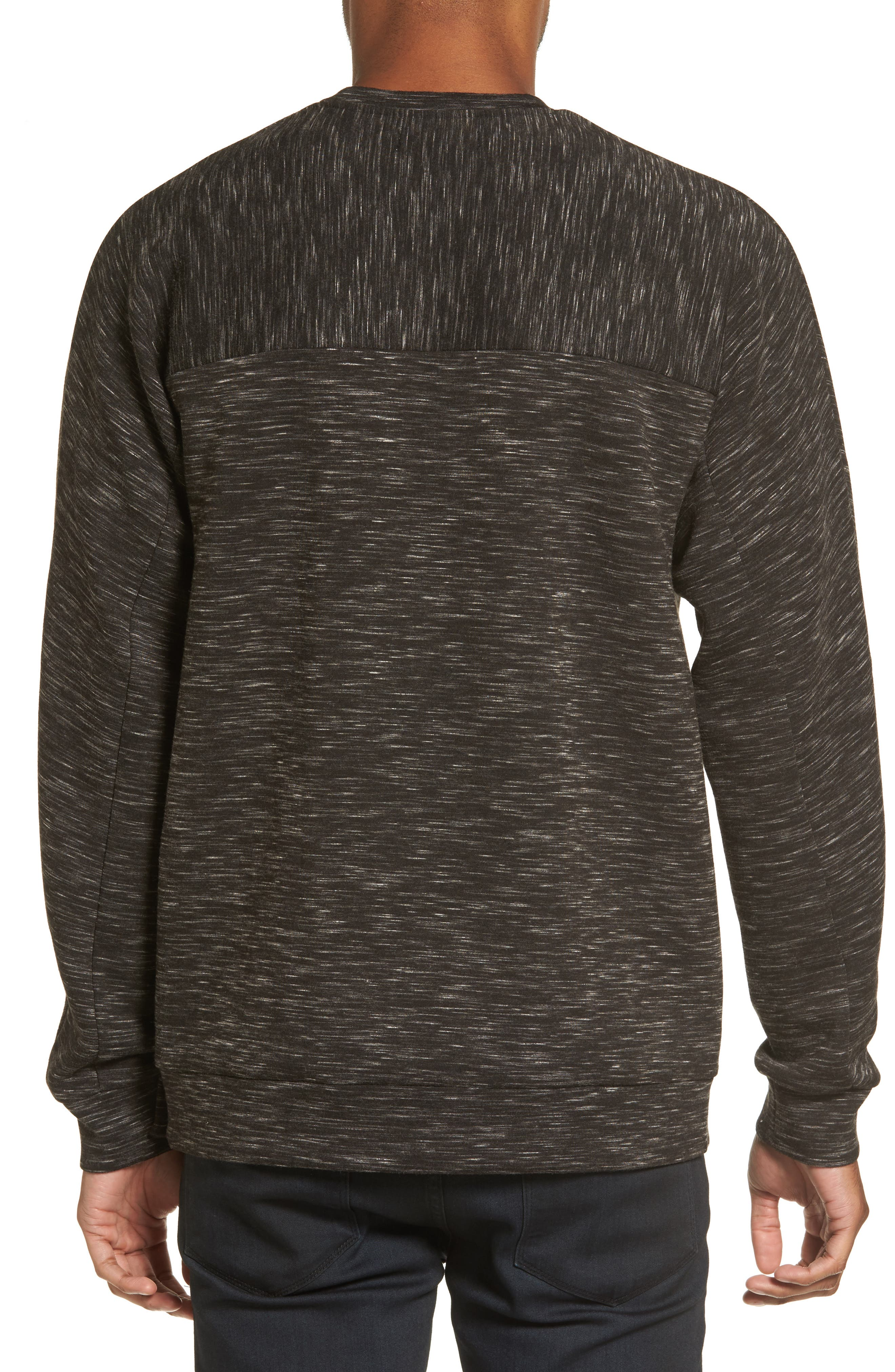 Side Zip Crewneck Sweatshirt,                             Alternate thumbnail 5, color,                             001