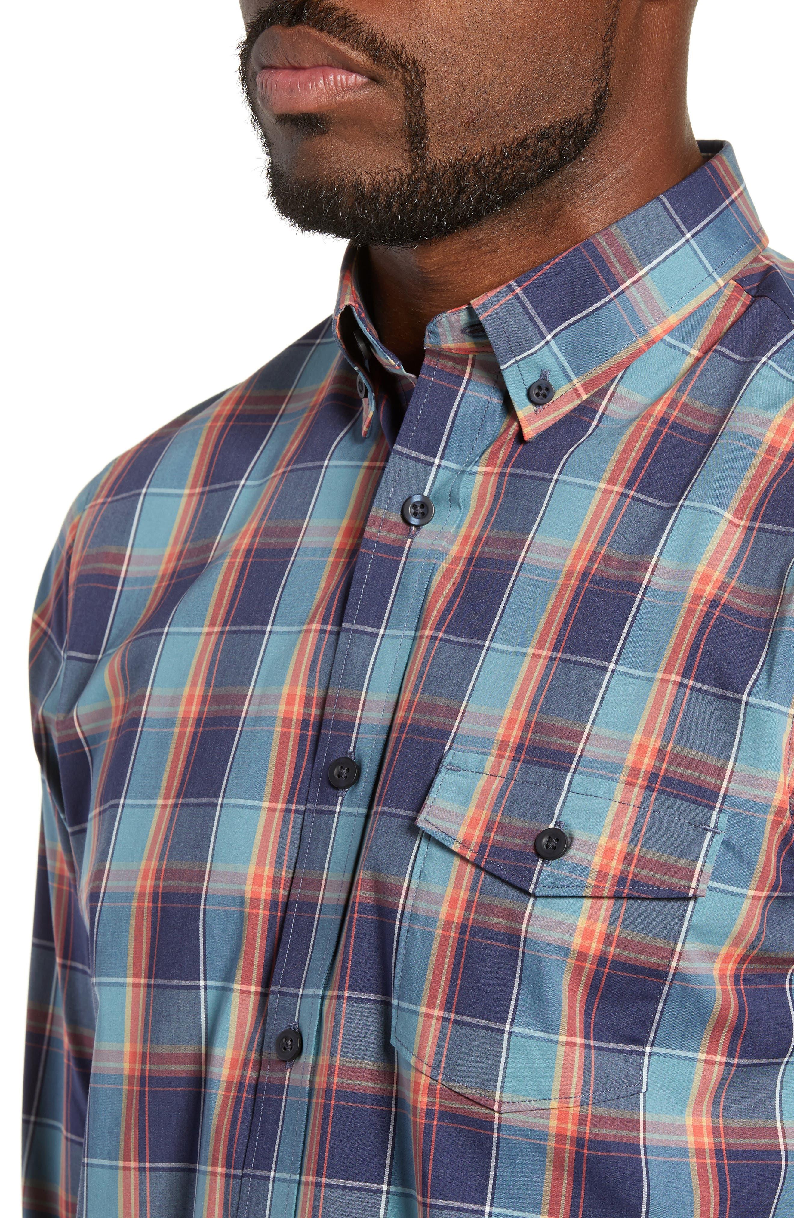 Tech-Smart Regular Fit Plaid Sport Shirt,                             Alternate thumbnail 2, color,                             NAVY CORAL PLAID