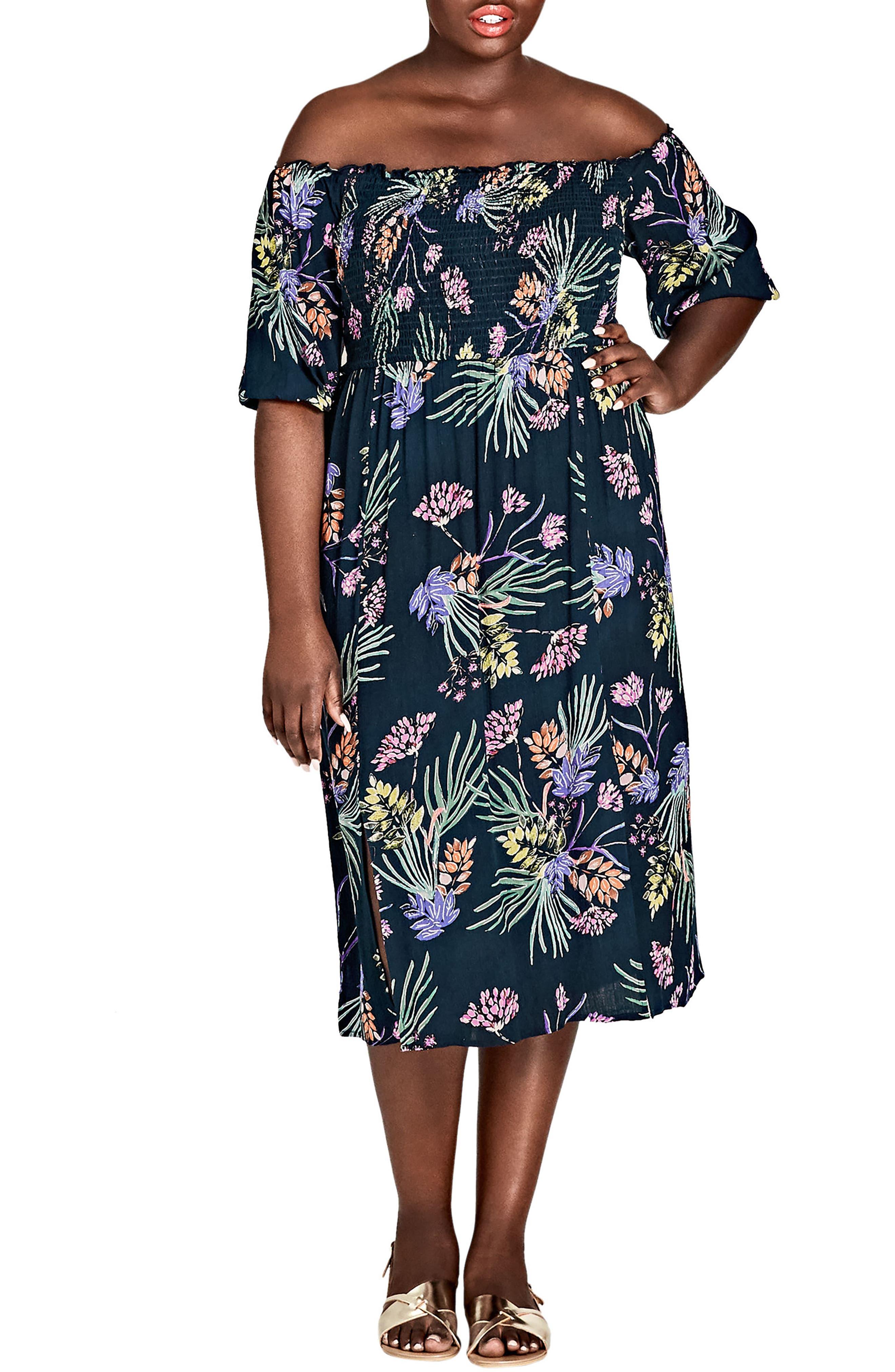 Island Floral Off the Shoulder Midi Dress,                             Main thumbnail 1, color,                             EXOTIC GARDEN