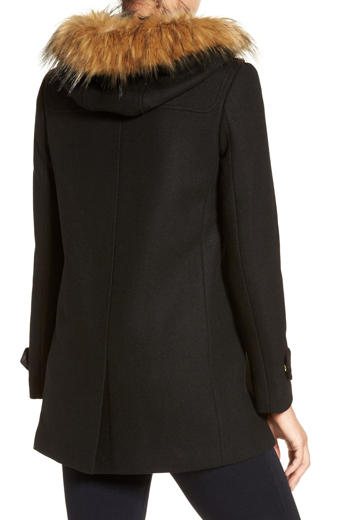 Cole Haan Hooded Duffle Coat with Faux Fur Trim,                             Alternate thumbnail 2, color,                             BLACK