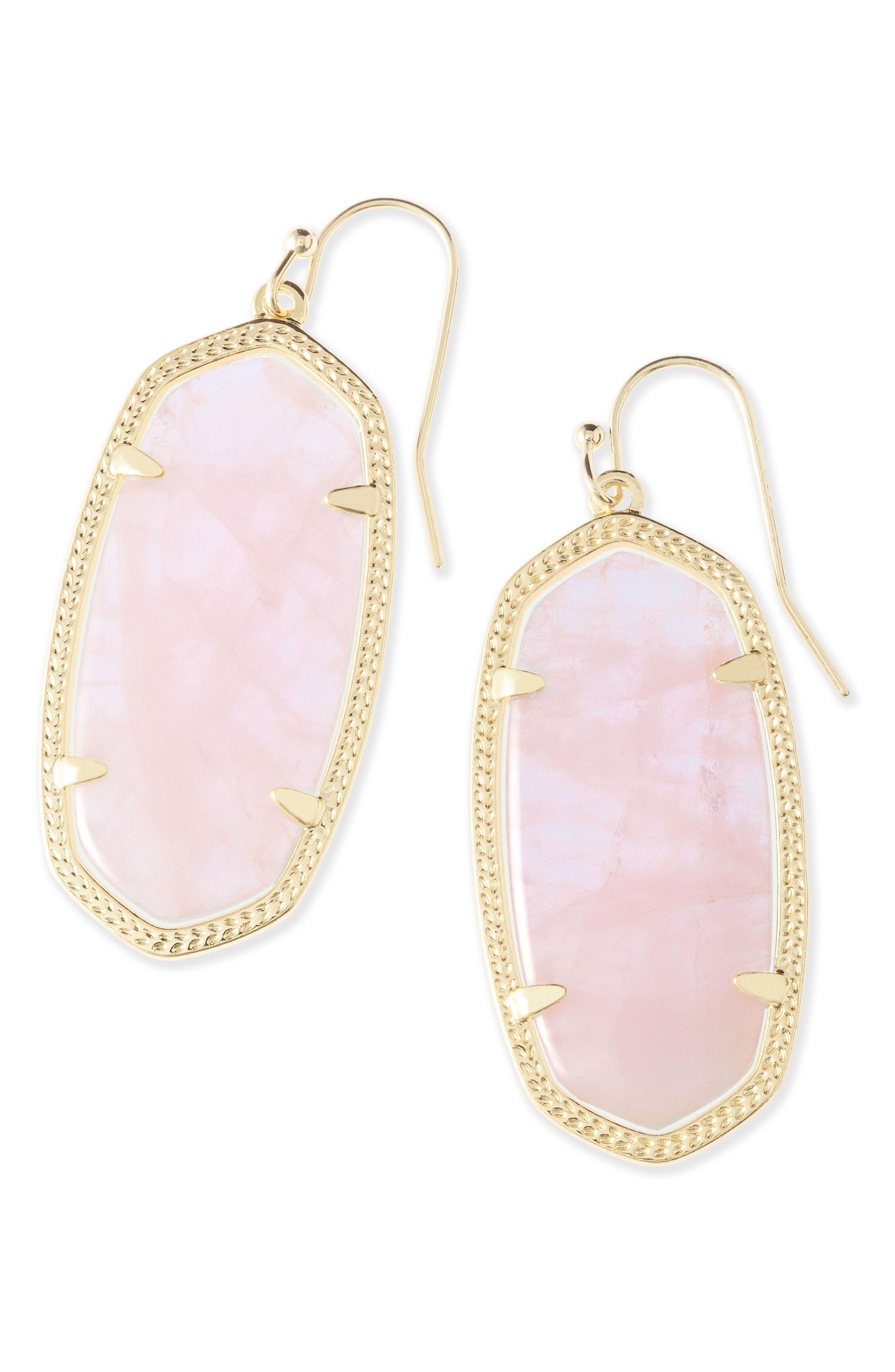 Elle Drop Earrings,                             Alternate thumbnail 3, color,                             ROSE QUARTZ/ GOLD