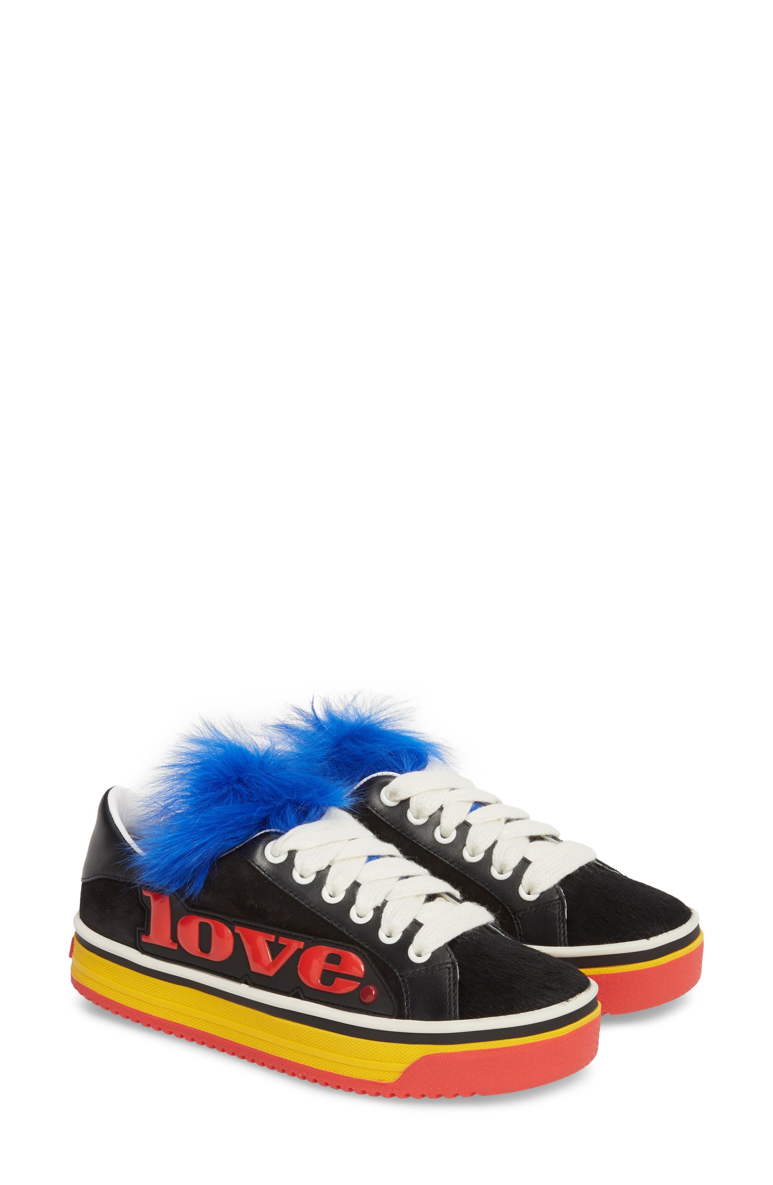 Empire Love Genuine Shearling & Calf Hair Trim Sneaker,                             Alternate thumbnail 2, color,                             BLACK MULTI