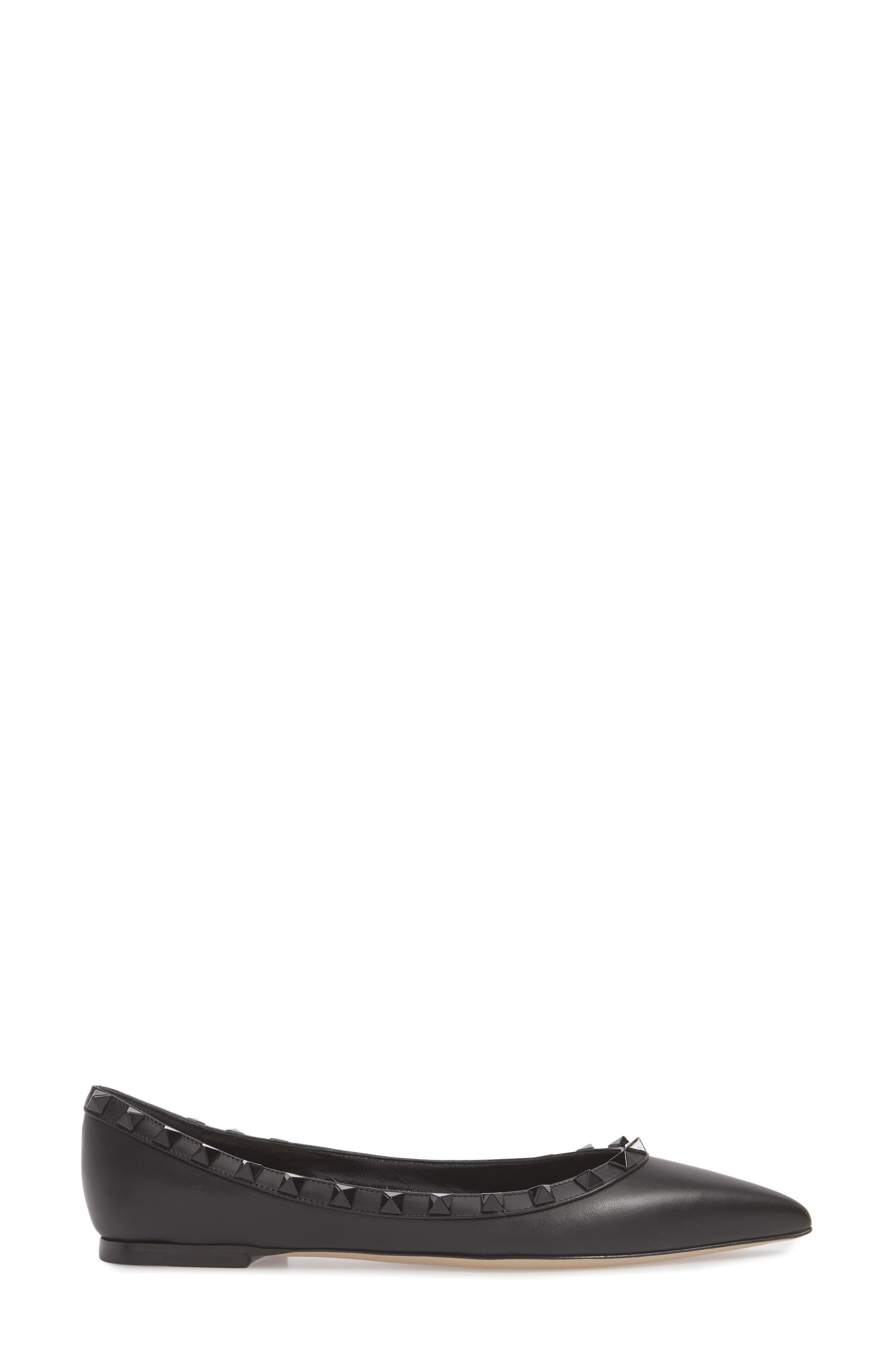 Rockstud Ballerina Flat,                             Alternate thumbnail 3, color,                             BLACK/ BLACK