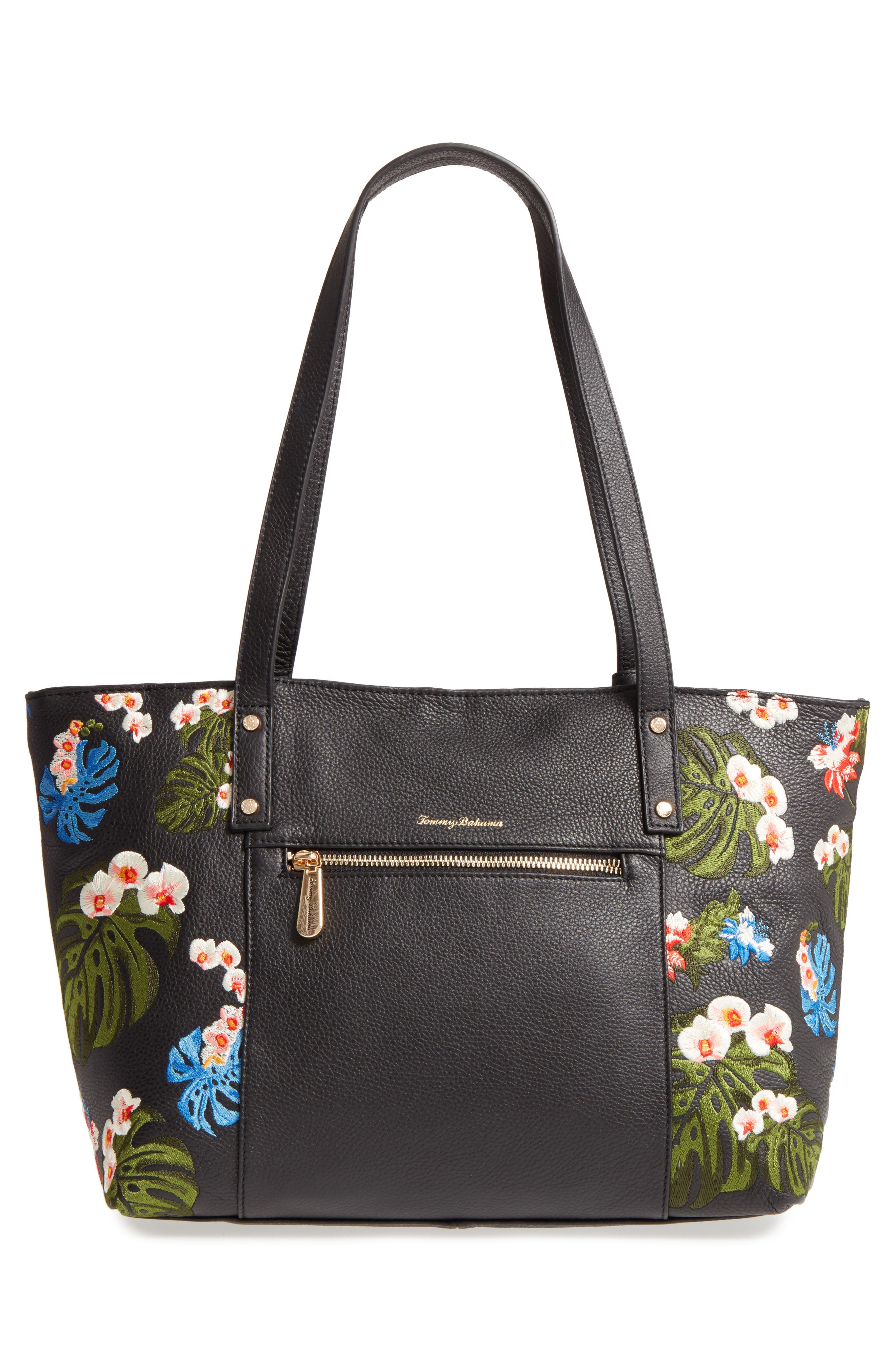 Cozumel Floral Embroidered Leather Tote,                             Alternate thumbnail 3, color,                             001