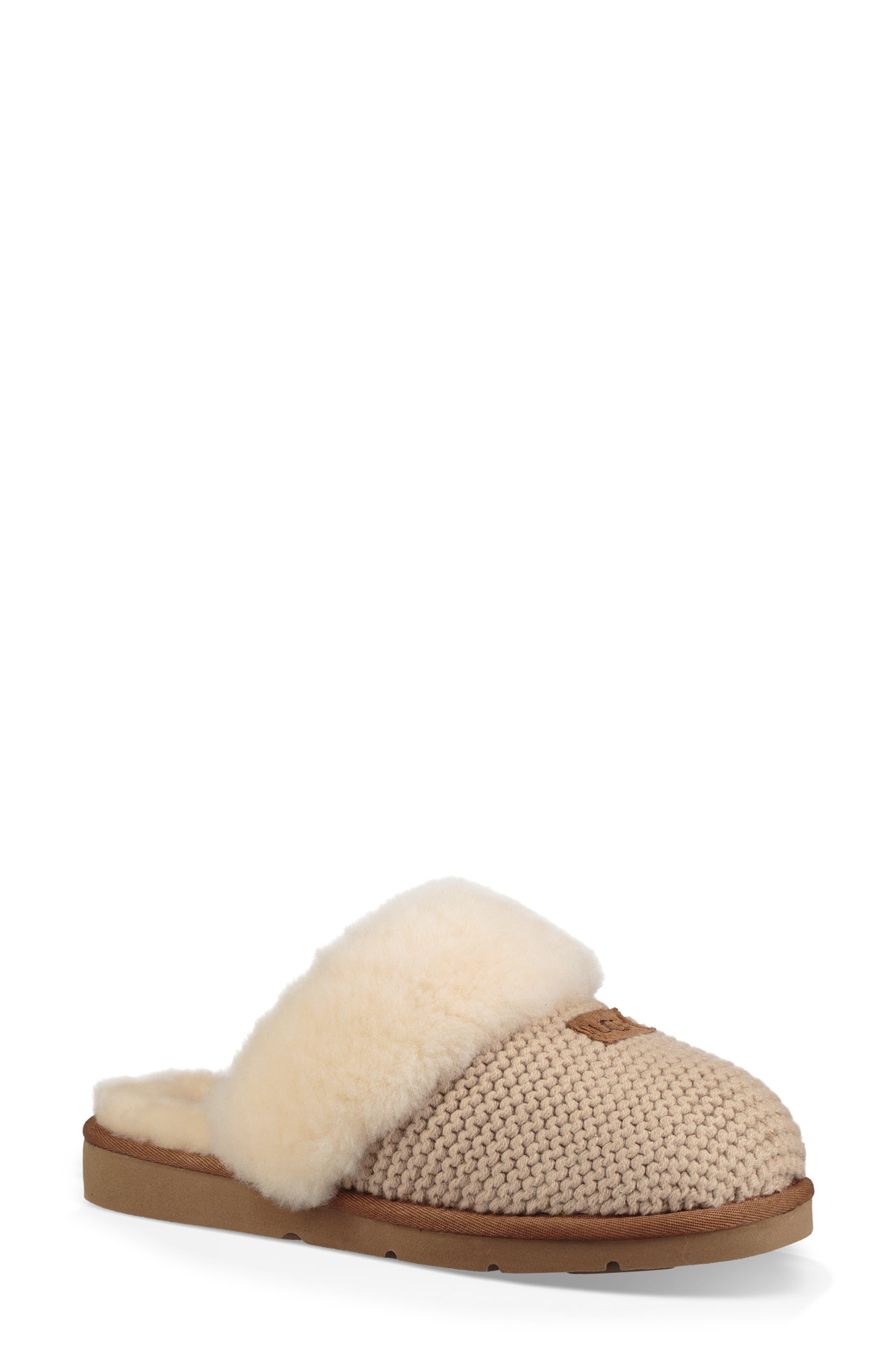 Ugg Cozy Knit Genuine Shearling Slipper, Ivory