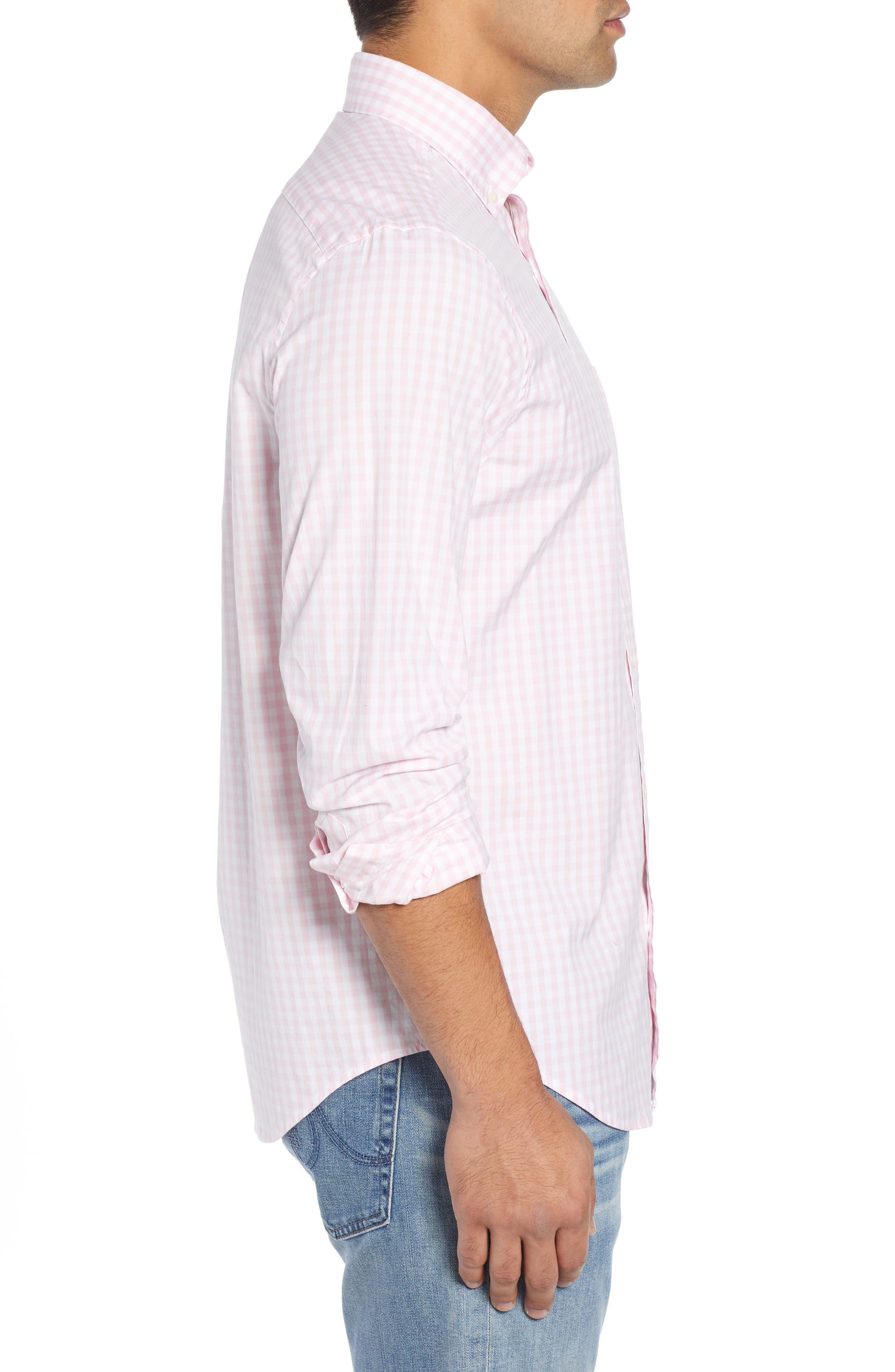 Carleton Classic Fit Gingham Buttondown Shirt,                             Alternate thumbnail 4, color,                             FLAMINGO