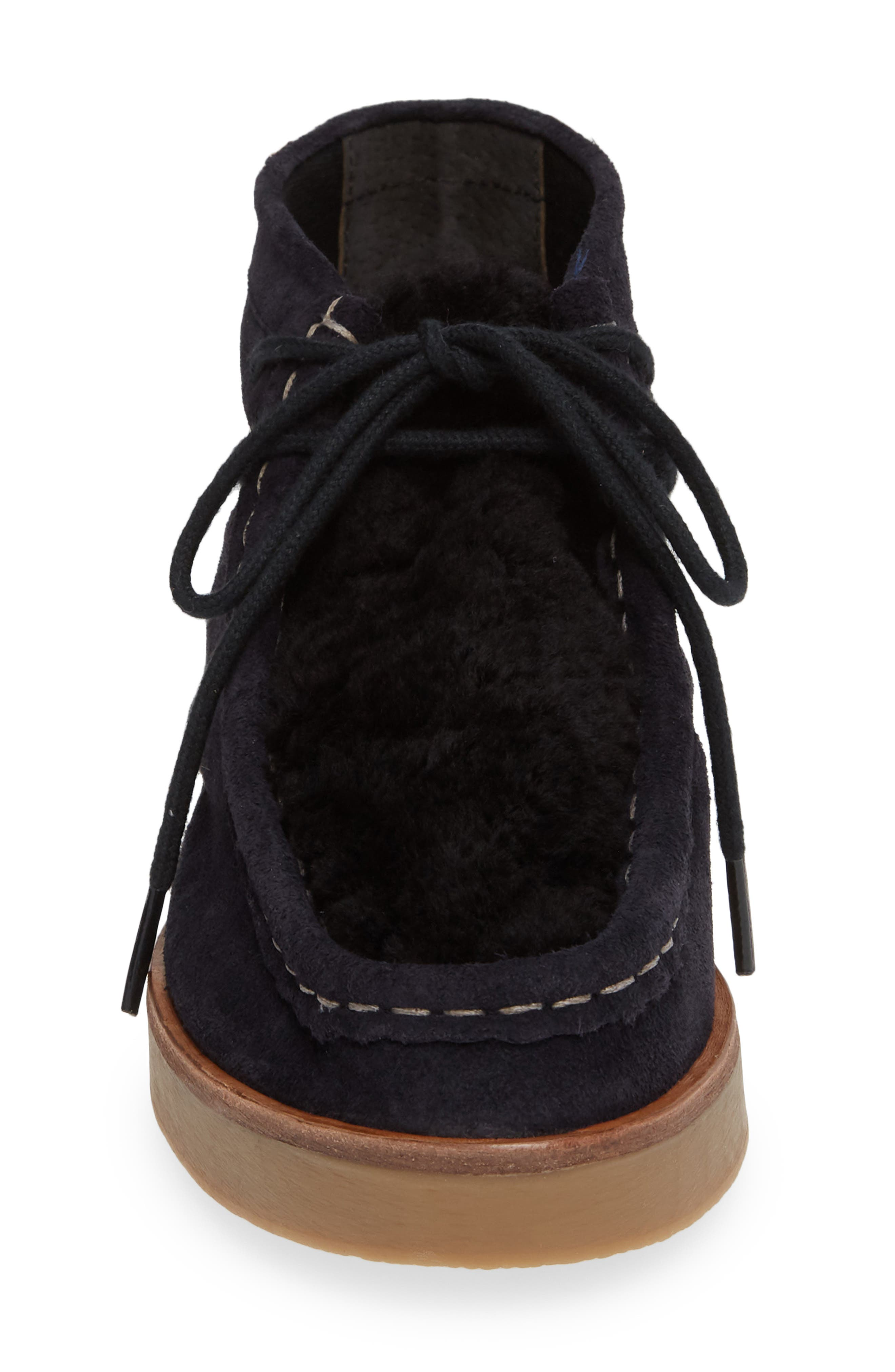 The Trooper Genuine Shearling Lined Shoe,                             Alternate thumbnail 4, color,                             MIDNIGHT/ BLACK SHEARLING