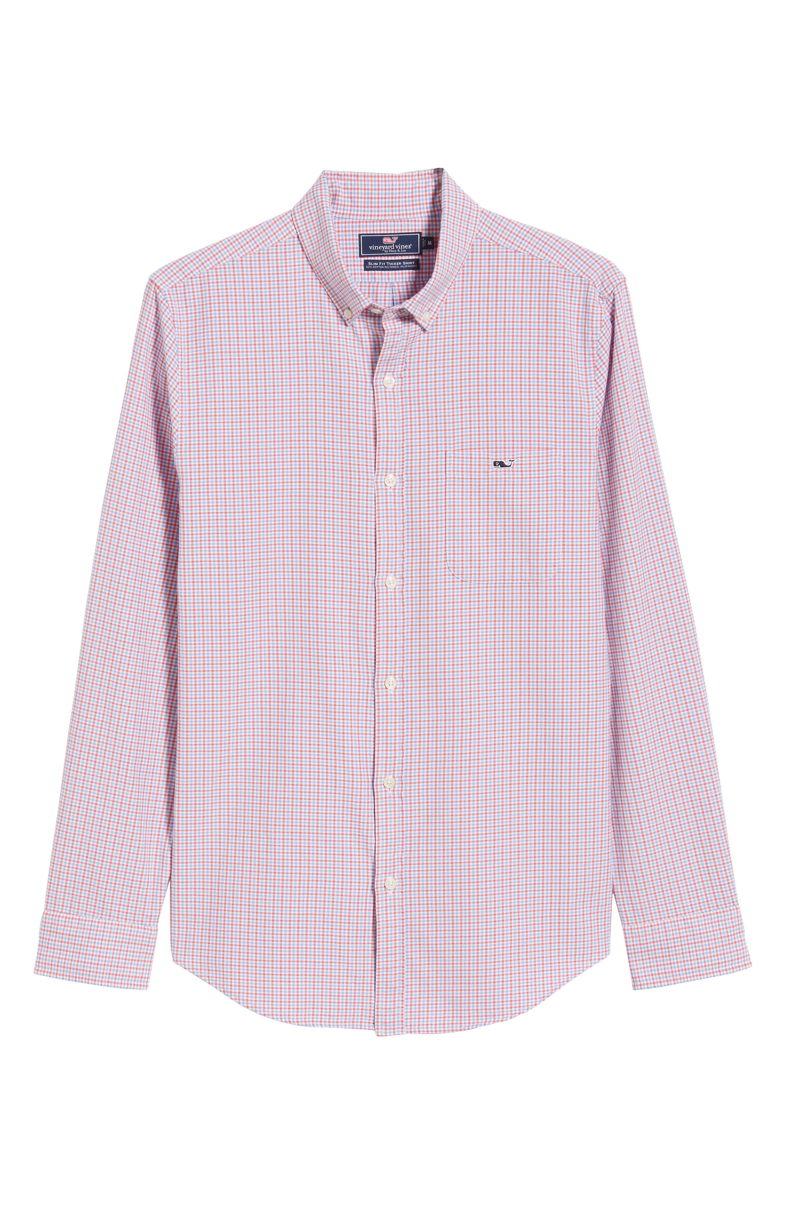 Slim Tucker 2 Check Sport Shirt,                             Alternate thumbnail 5, color,                             SAILORS RED