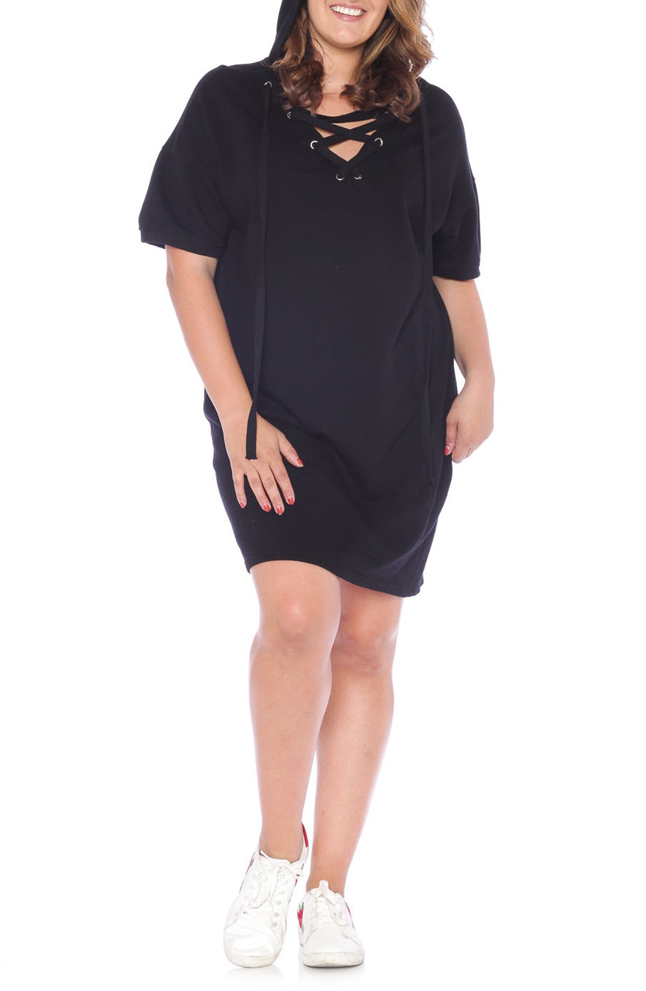 Lace-Up Hoodie Dress,                             Alternate thumbnail 3, color,                             018