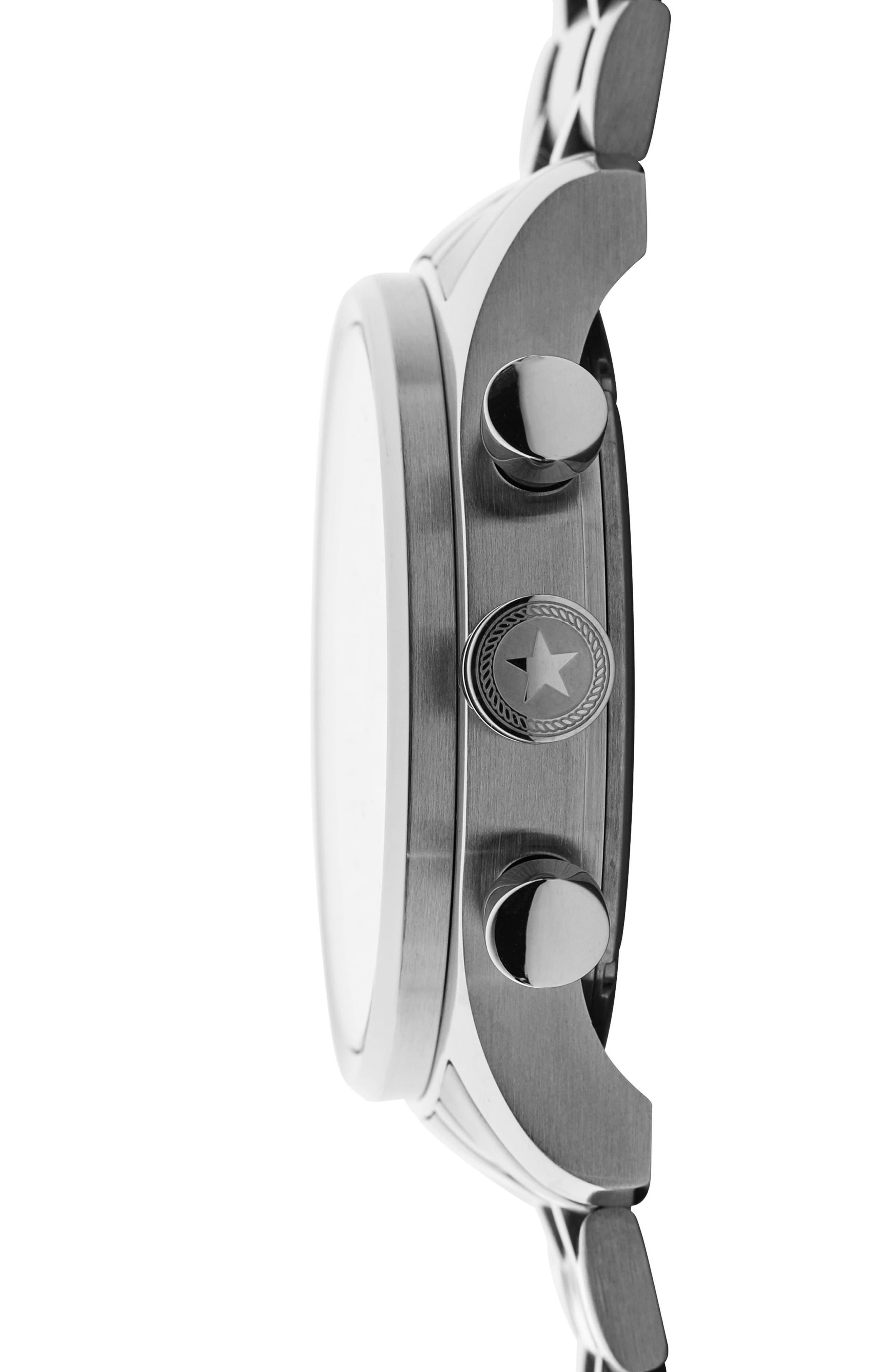 Nautical Chronograph Bracelet Watch, 42mm,                             Alternate thumbnail 3, color,                             BLACK/ SILVER