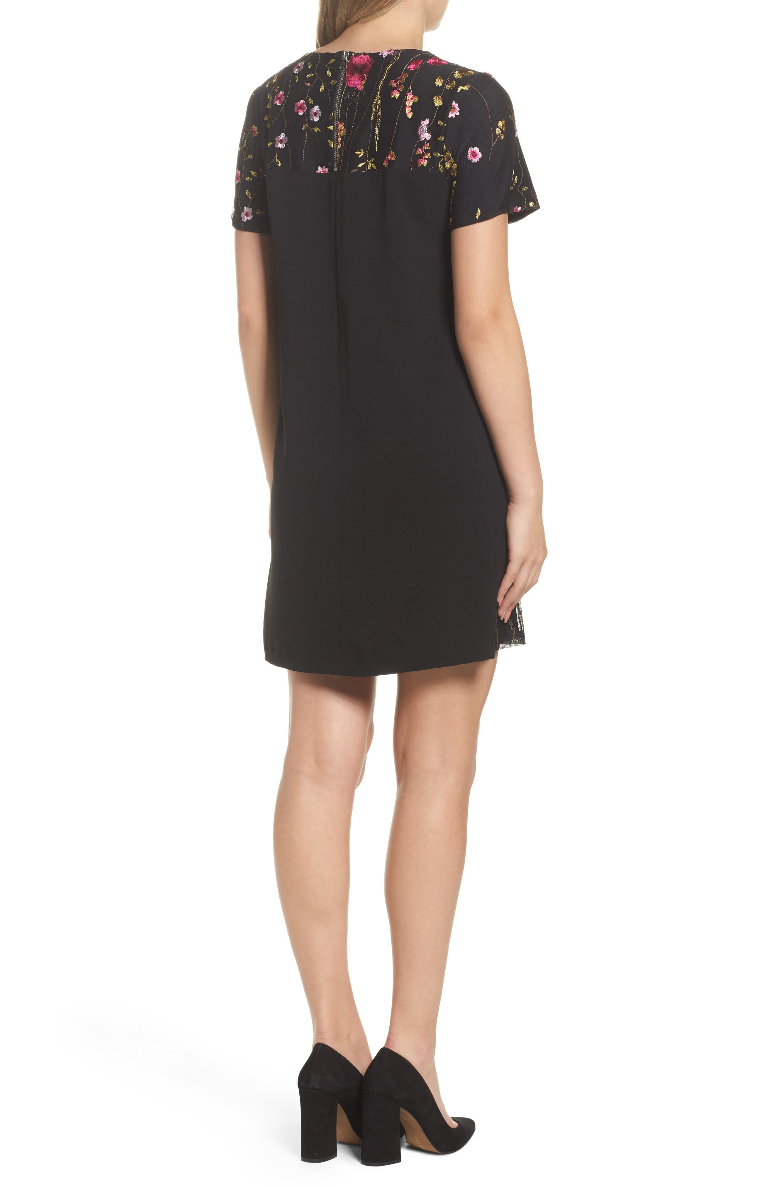 Rose Embroidered Shift Dress,                             Alternate thumbnail 2, color,                             429