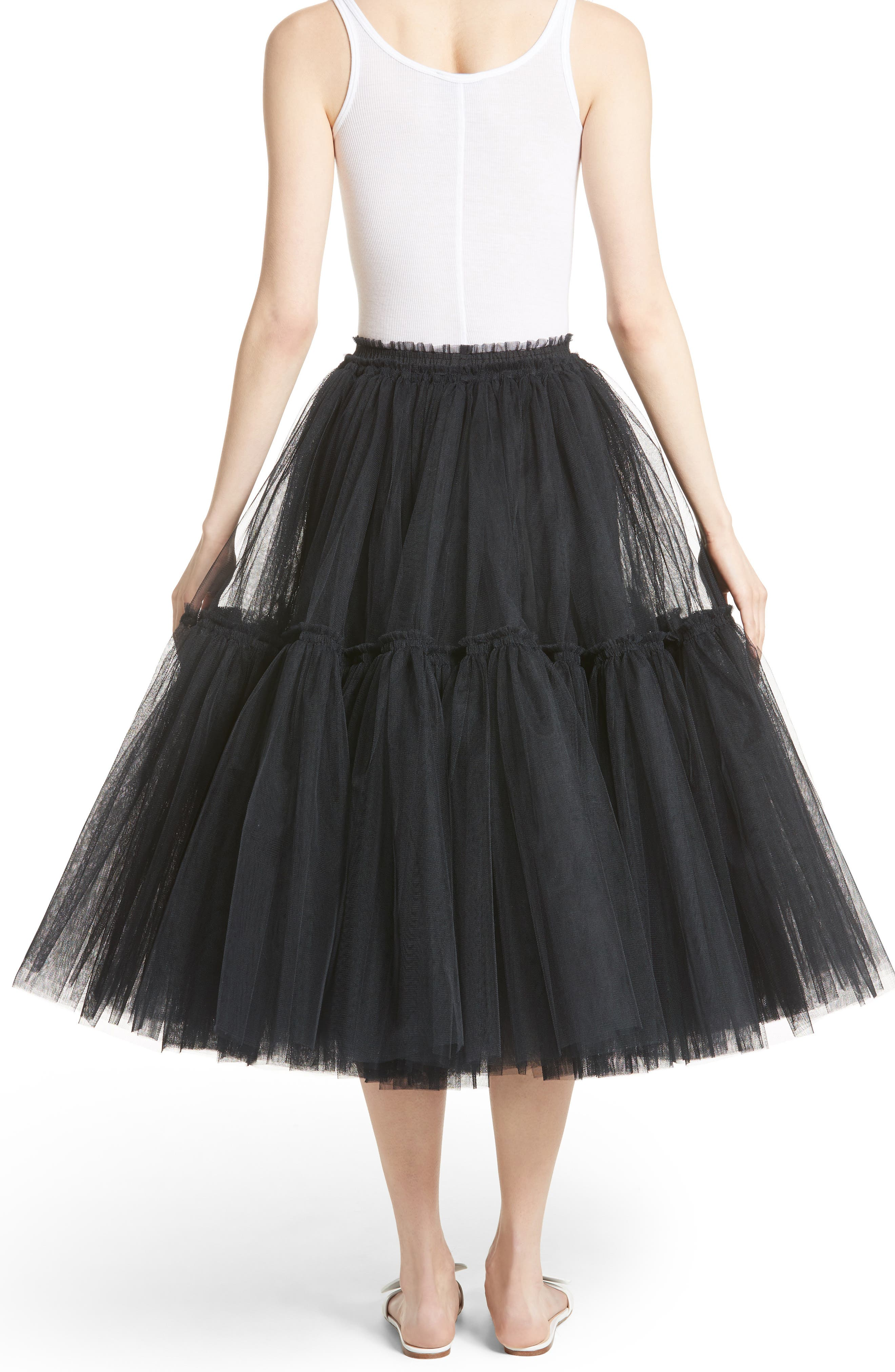 Gathered Tulle Skirt,                             Alternate thumbnail 2, color,                             001