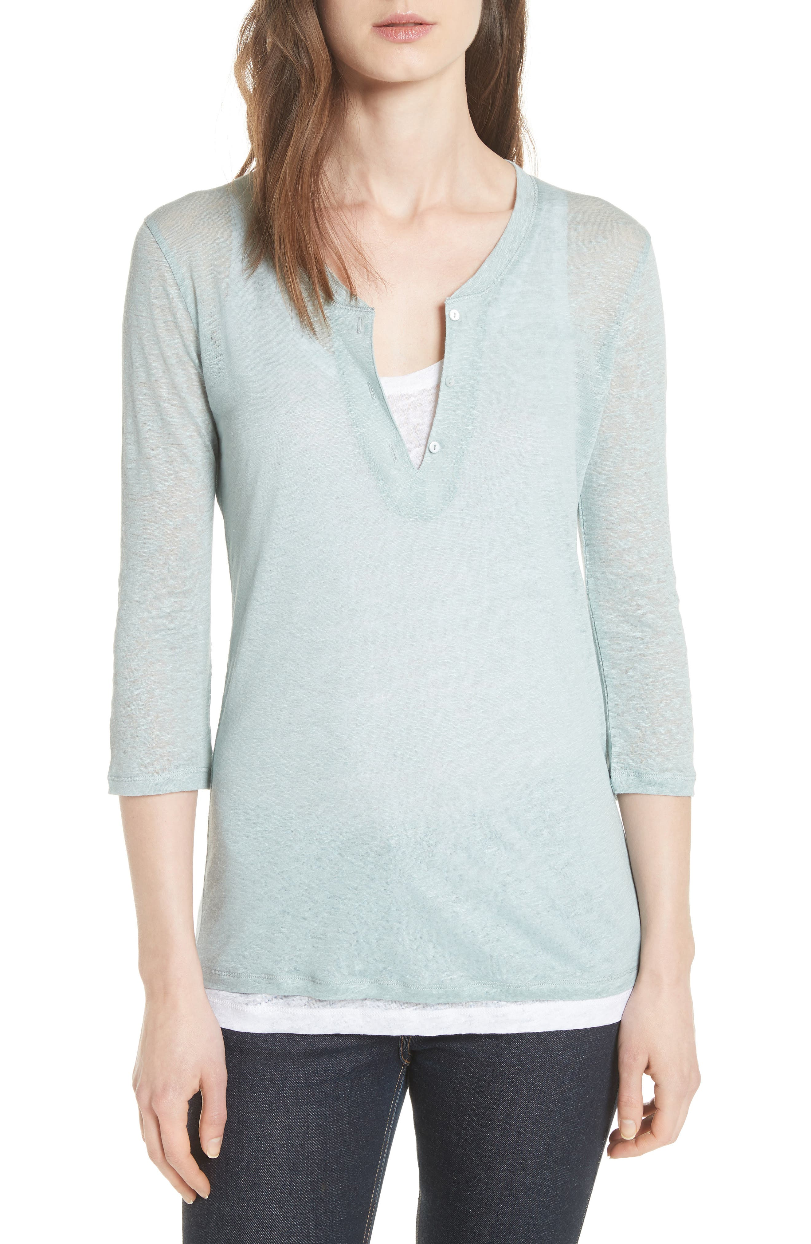 Double Layer Henley Top,                         Main,                         color, ECUME/ BLANC
