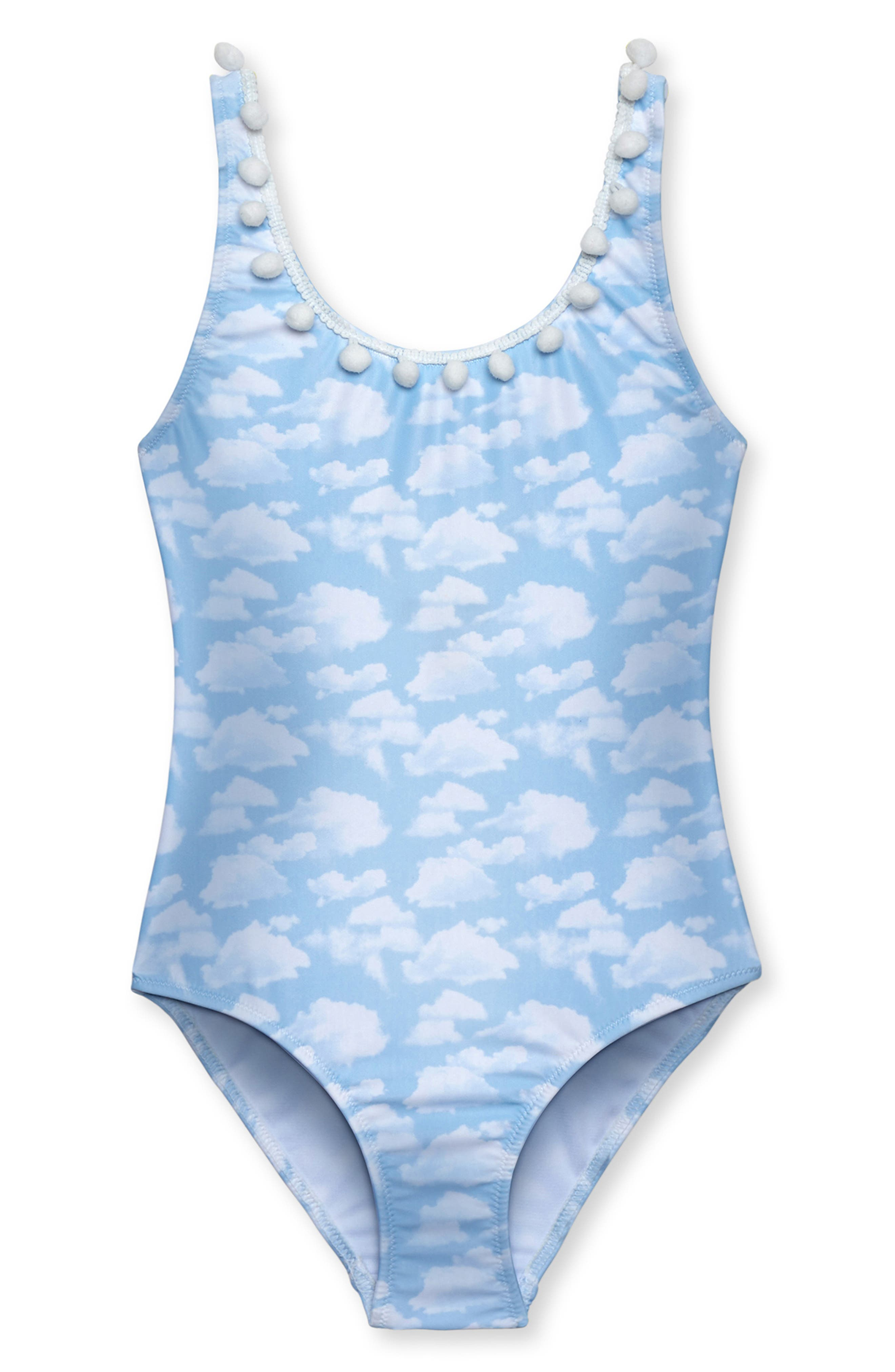 Beautiful Sky Print One-Piece Swimsuit,                             Main thumbnail 1, color,                             BLUE