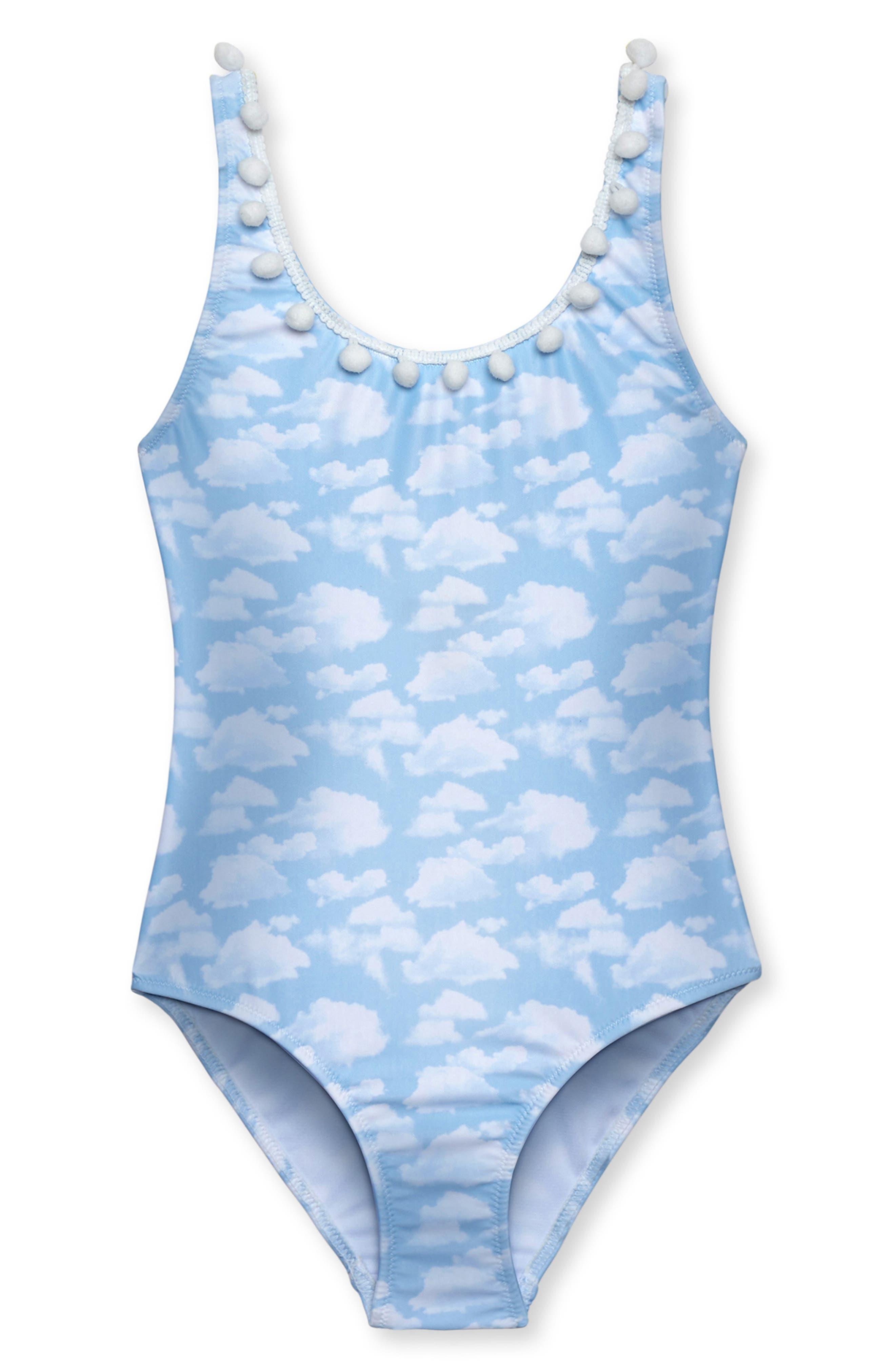 Sky Print One-Piece Swimsuit,                         Main,                         color, BLUE